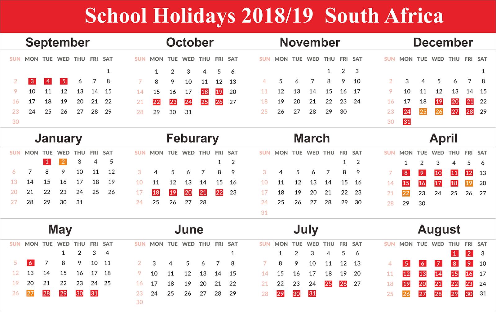 Free School Holidays Calendar 2019 South Africa Templates S A School Calendar 2019