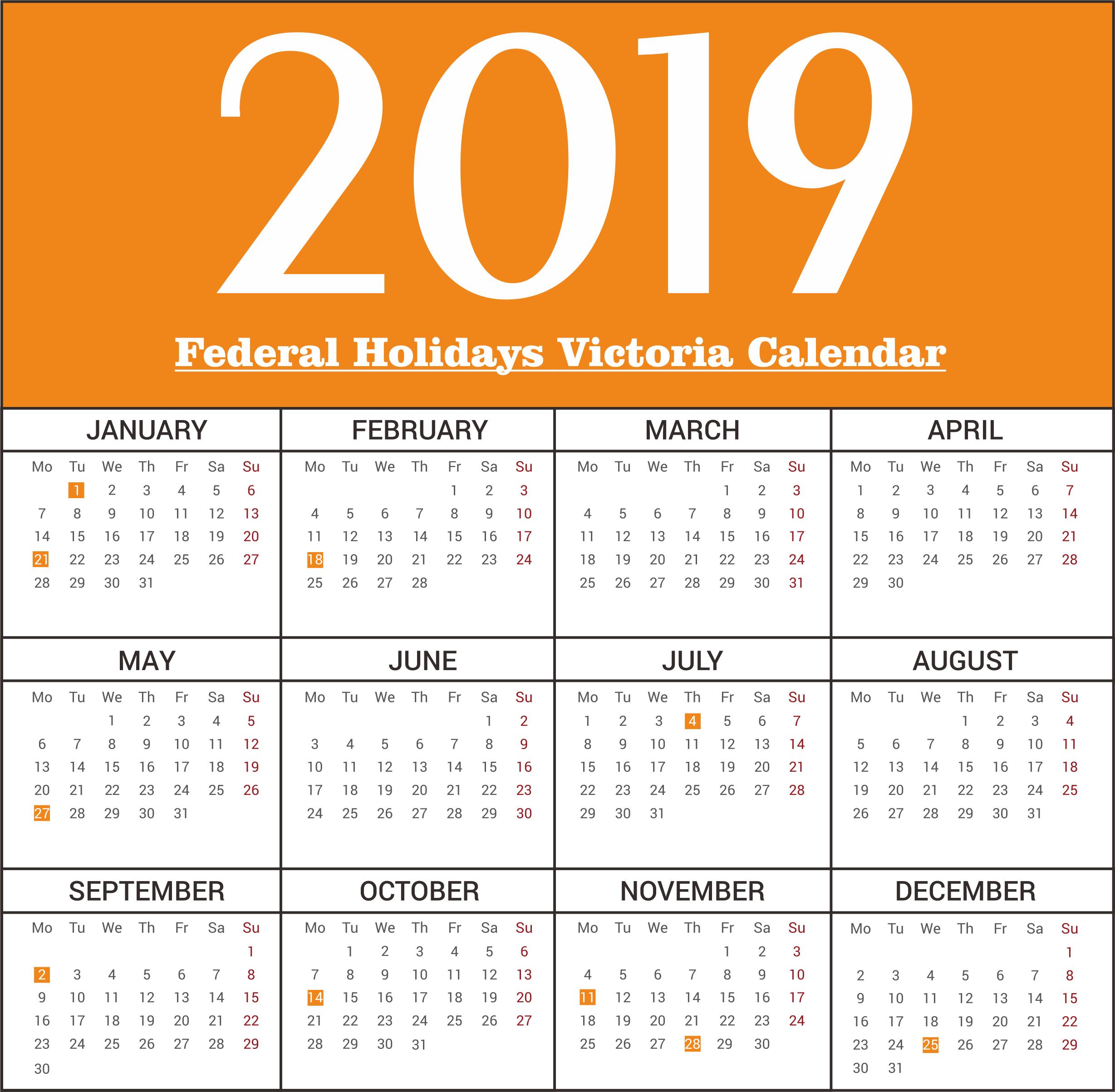 Free Victoria Federal Holidays 2019 Calendar Templates   Free Calendar 2019 Victoria