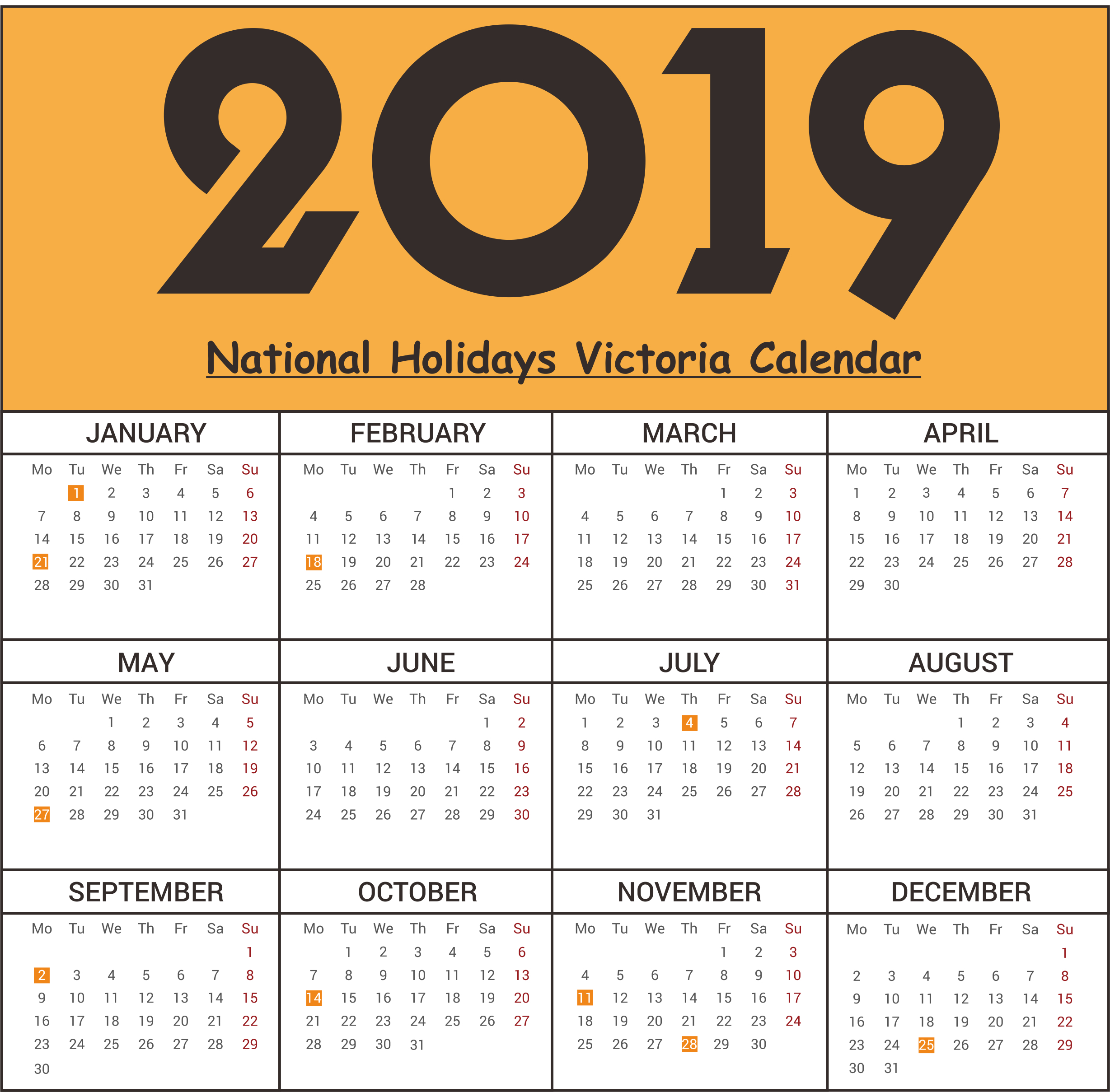 Free Victoria National Holidays 2019 Calendar Templates   Free Calendar 2019 Victoria School Holidays