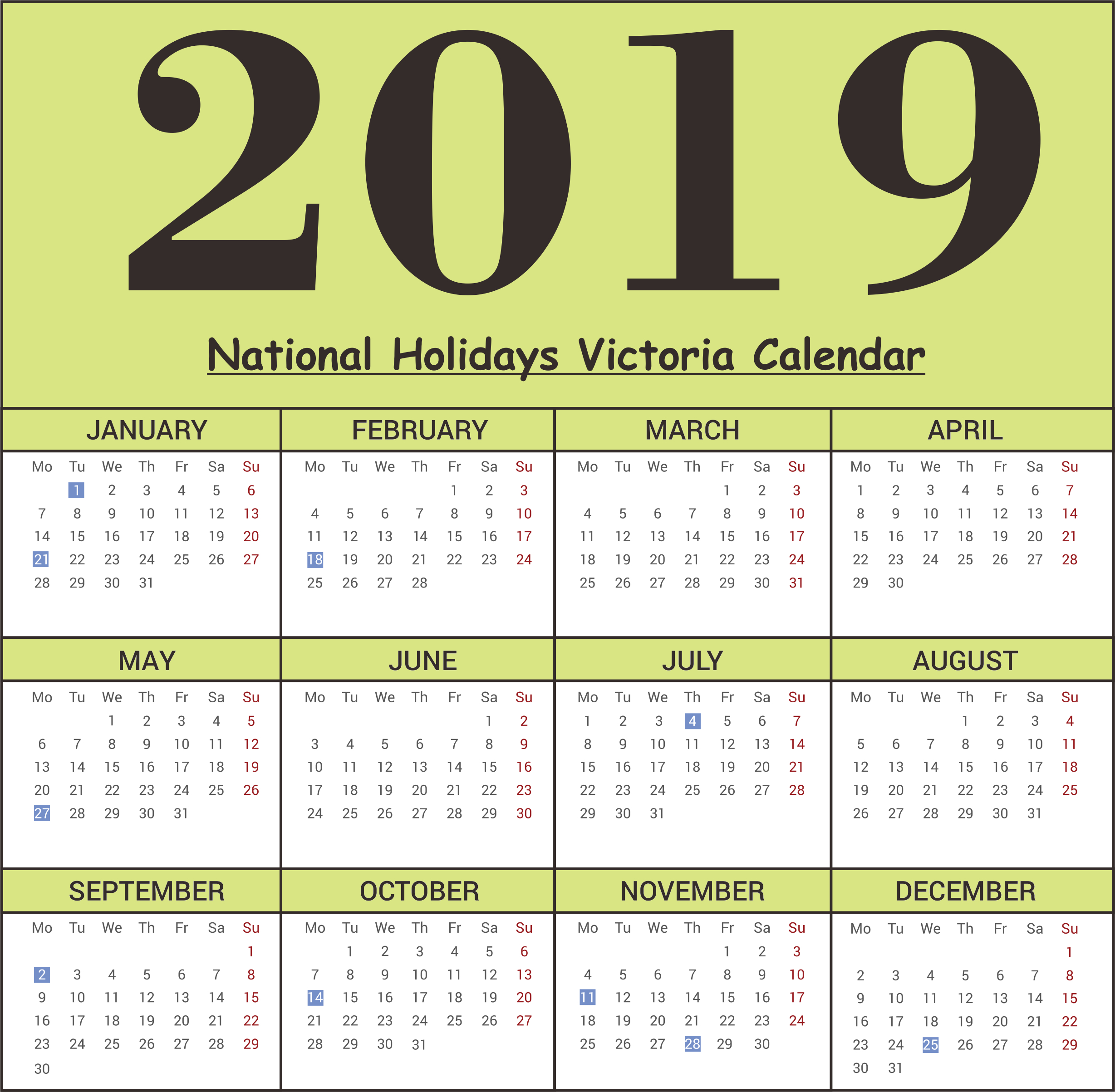 Free Victoria National Holidays 2019 Calendar Templates   Free Calendar 2019 Victoria