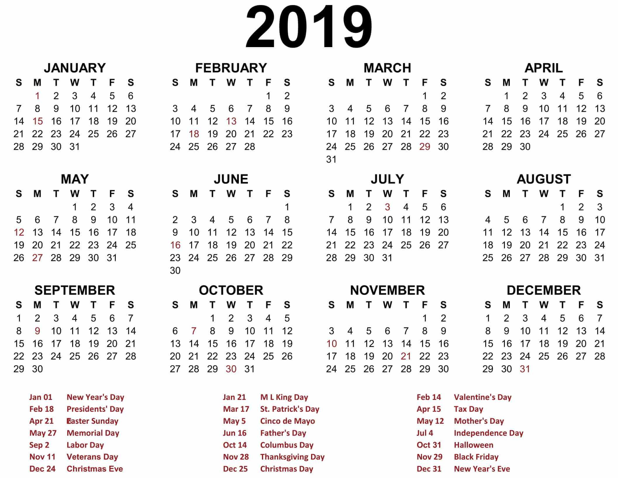Free Yearly Calendar 2019 - Printable Blank Templates - Calendar Calendar 2019 Entire Year