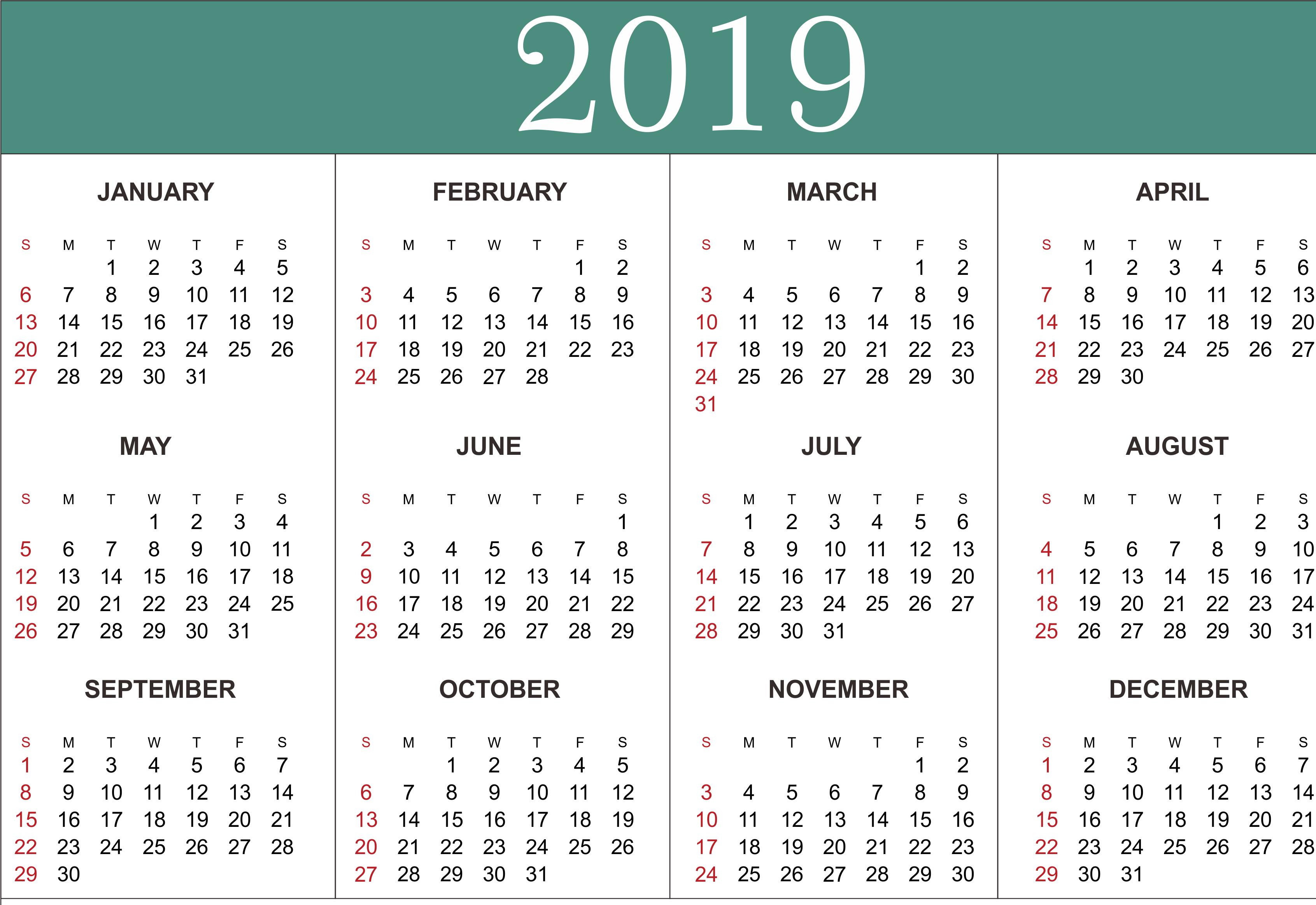 Free Yearly Calendar 2019 – Printable Blank Templates – Calendar Calendar 2019 Entire Year