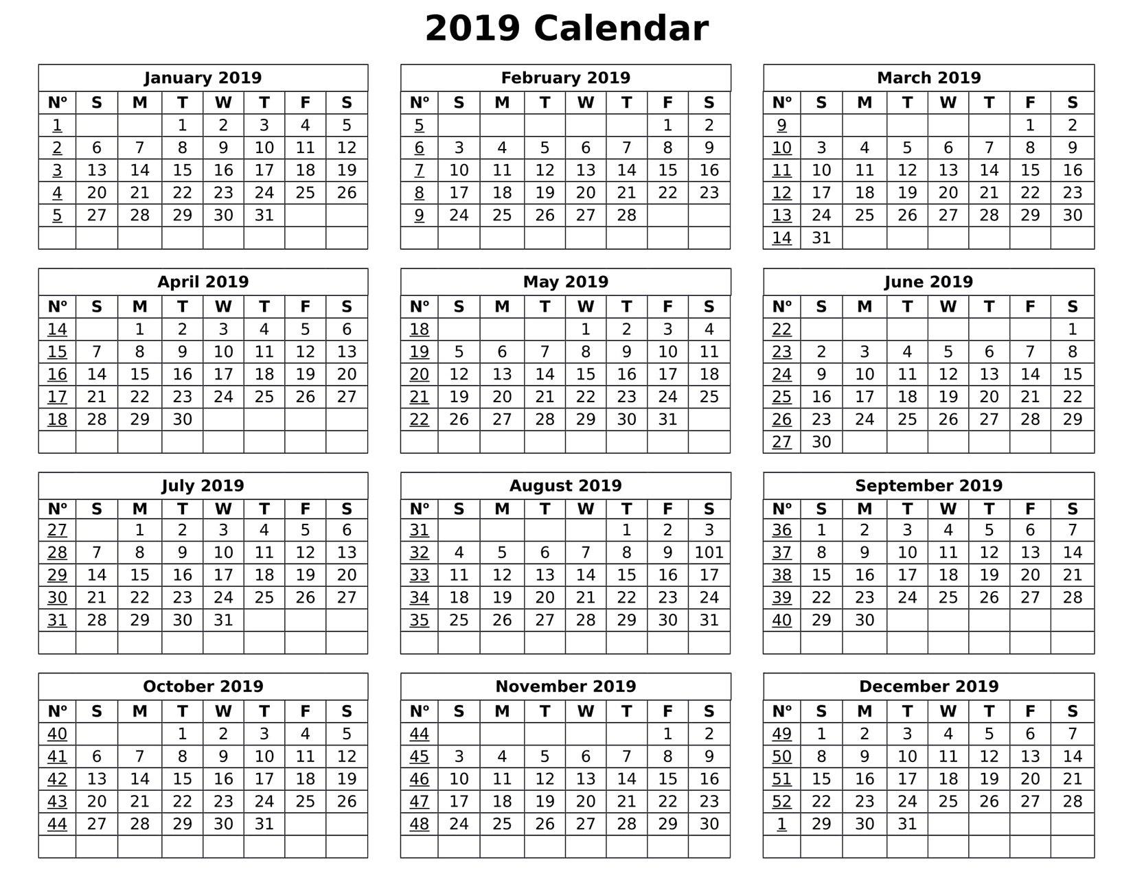 Full Year Calendar For 2019 – Free Calendar Templates & Worksheets Calendar 2019 Entire Year