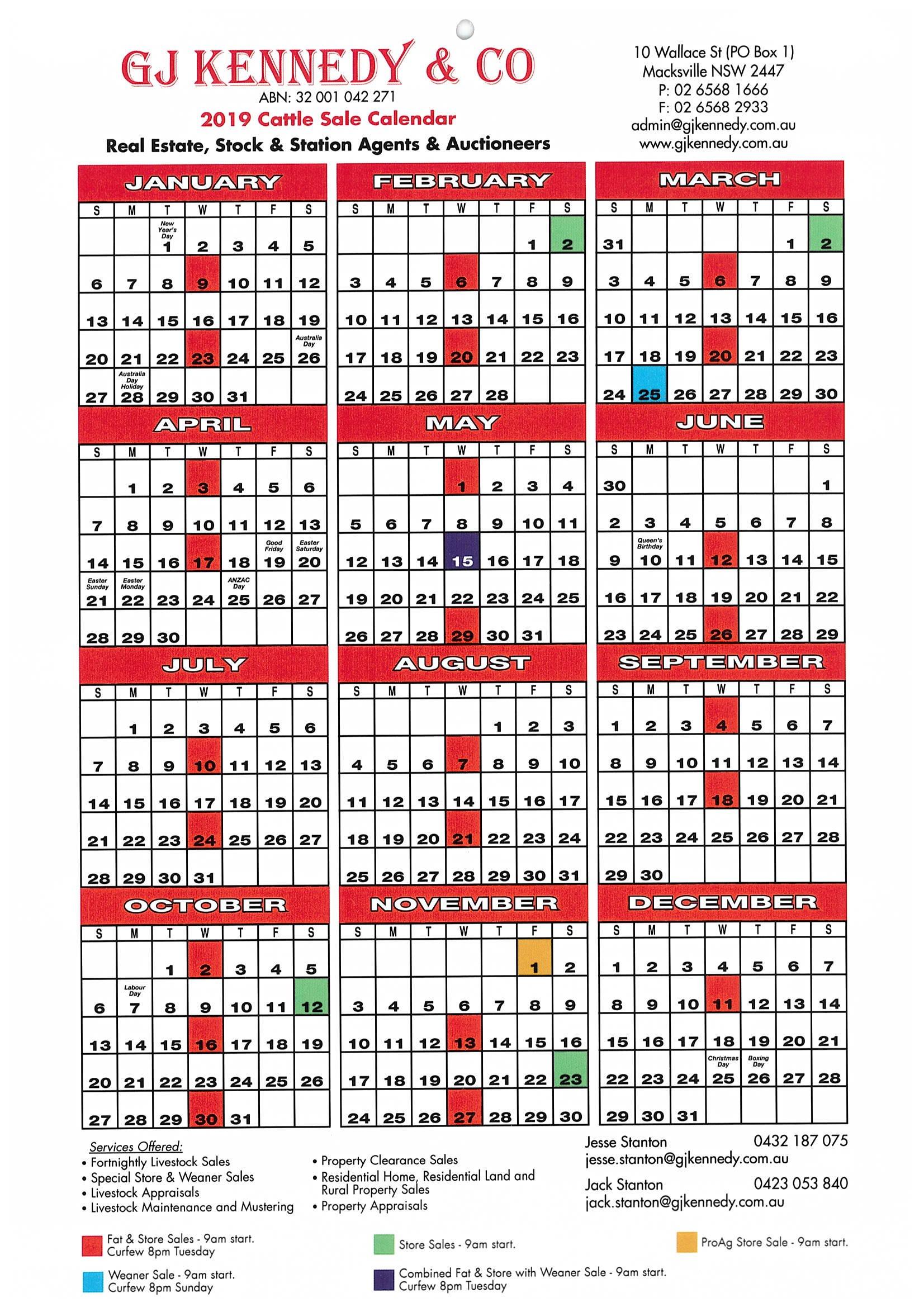 G J Kennedy & Co Pty Ltd – Livestock Sale Dates Calendar 2019 Sale