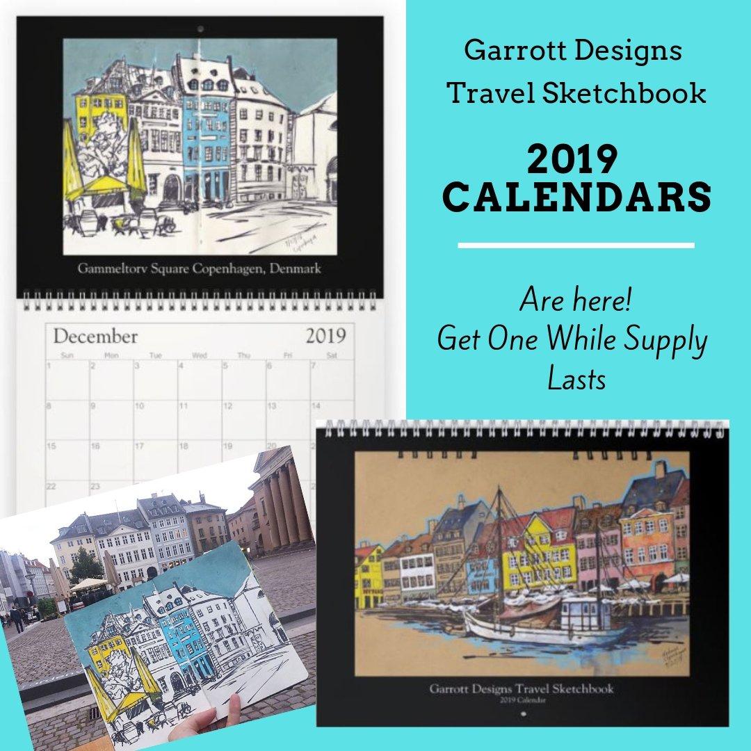 """Garrott Designs 2019 Wall Calendar """"travel Sketchbook"""" – Garrott Designs Calendar 2019 Travel"""