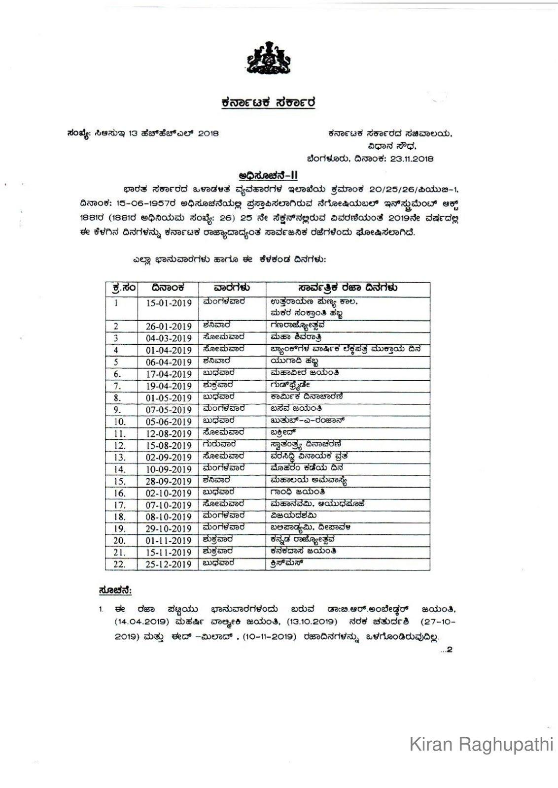 Government Holidays (Gh) & Restricted Holidays (Rh) List In 2019 Calendar 2019 Rh Gh