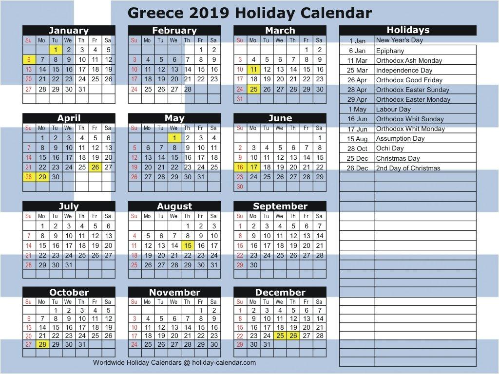 Greece 2019 / 2020 Holiday Calendar Calendar 2019 Greece