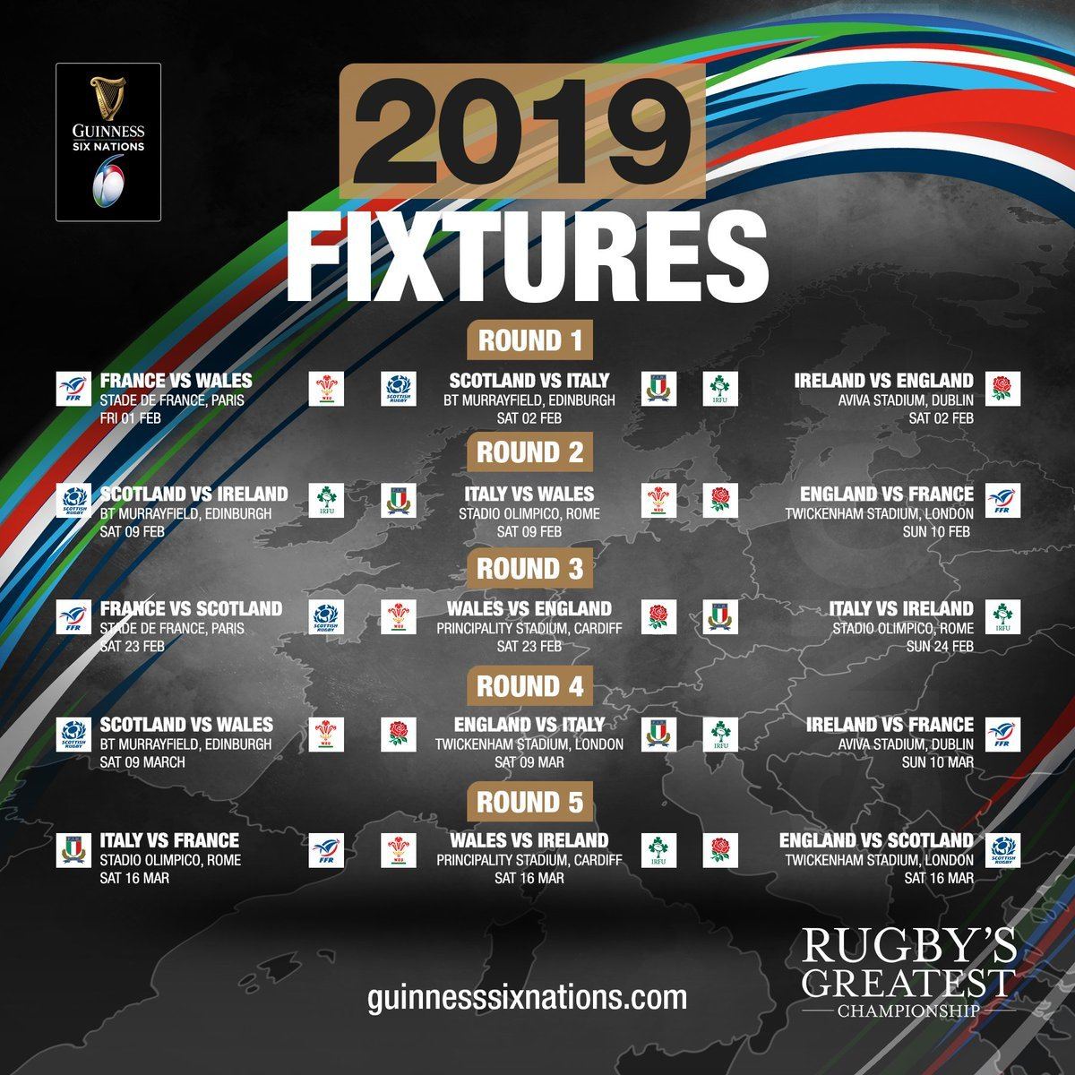 """Guinness Six Nations On Twitter: """"the Guinness Six Nations Starts On 6 Nations 2019 Calendar Download"""