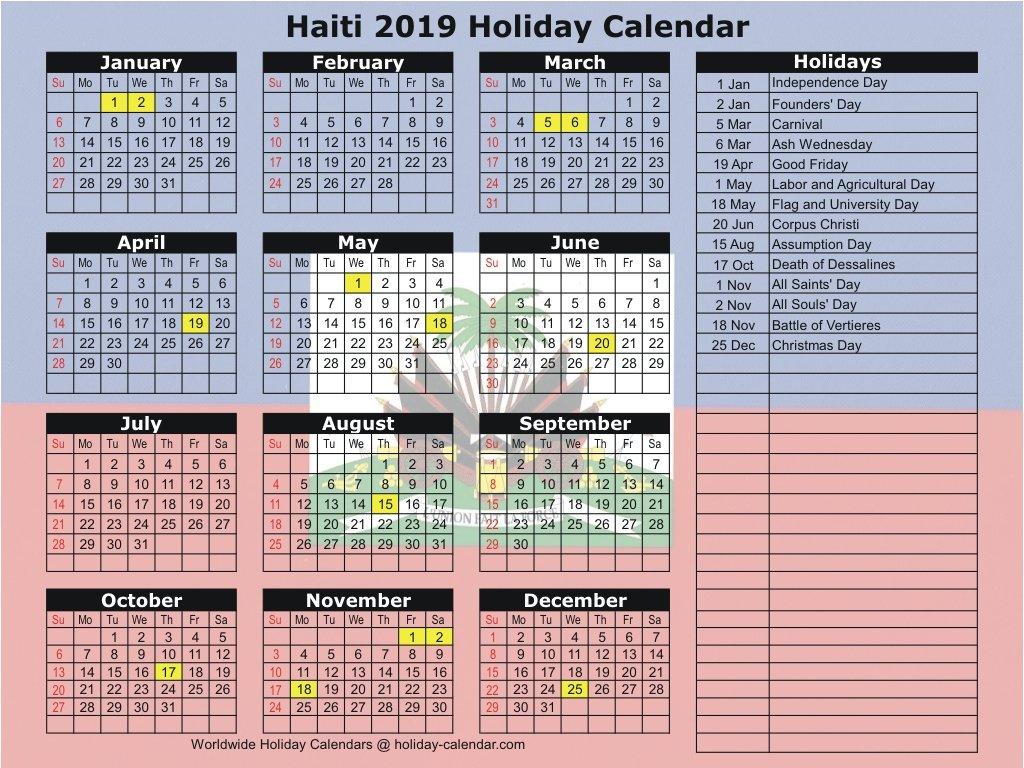 Haiti 2019 / 2020 Holiday Calendar Calendar 2019 Haiti