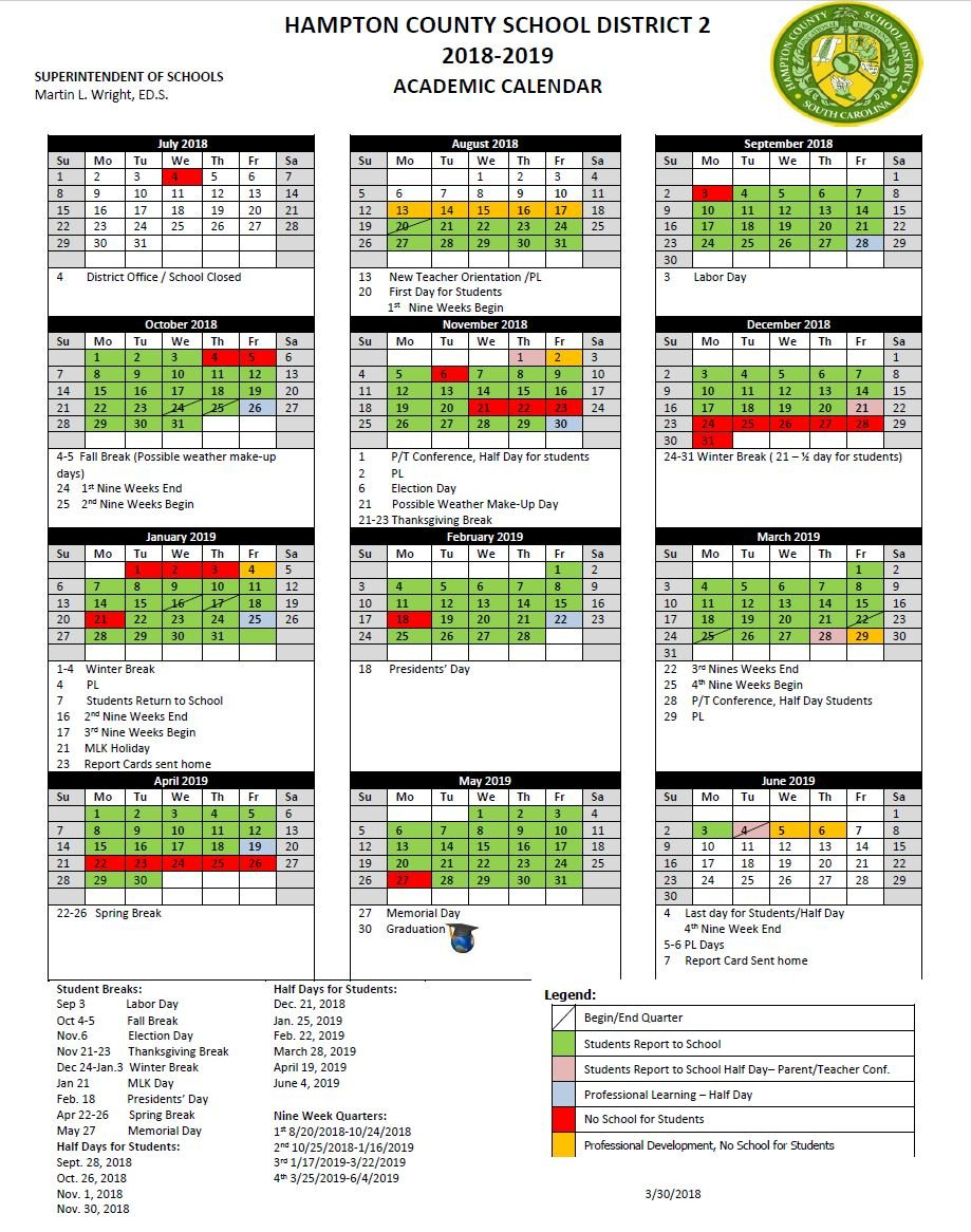 Hampton County School District 2 Calendar 2019 And 2020 School District 2 Calendar 2019