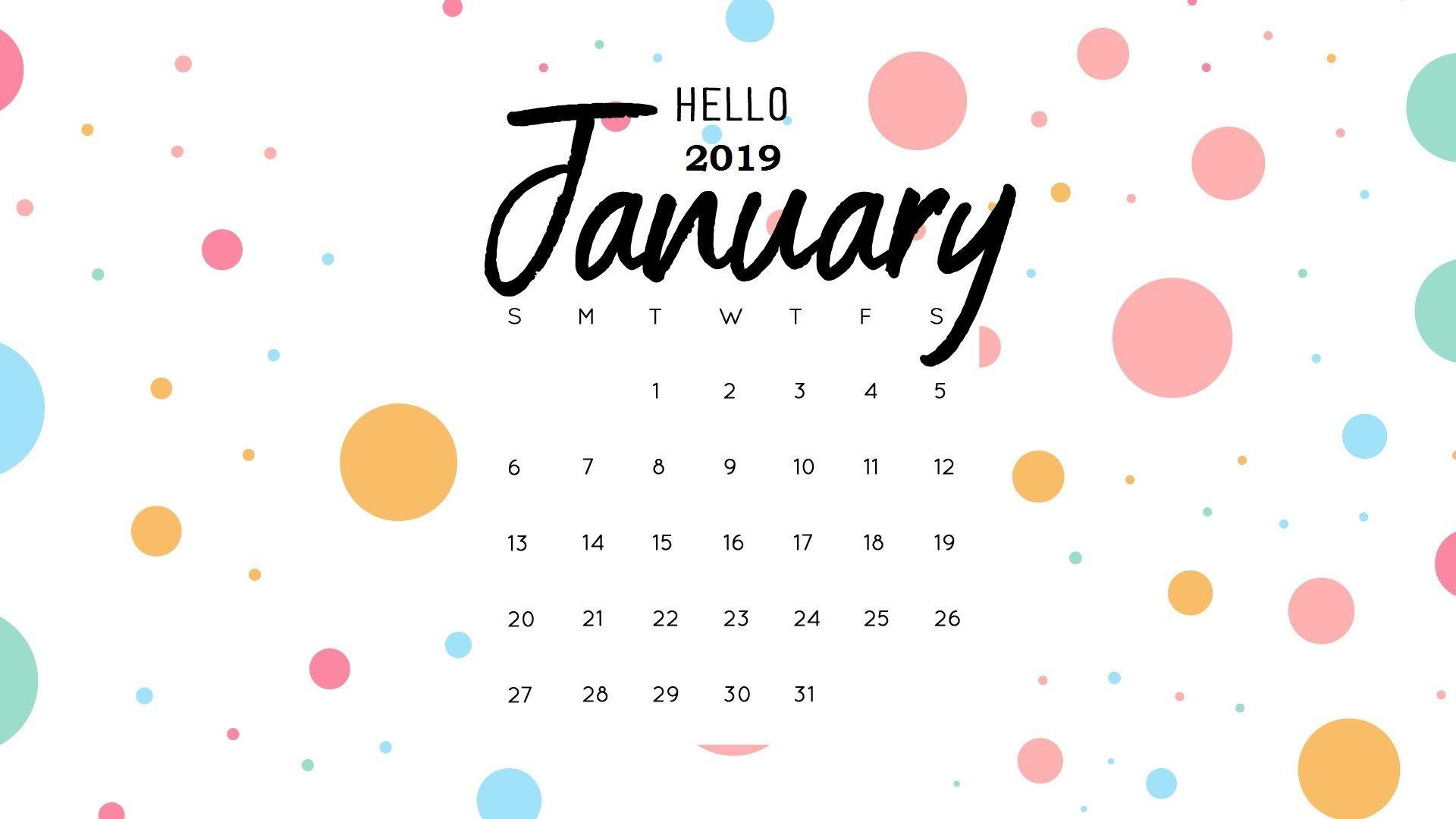 Hello January 2019 Calendar Wallpaper | Monthly Calendar Templates Calendar 2019 Wallpaper