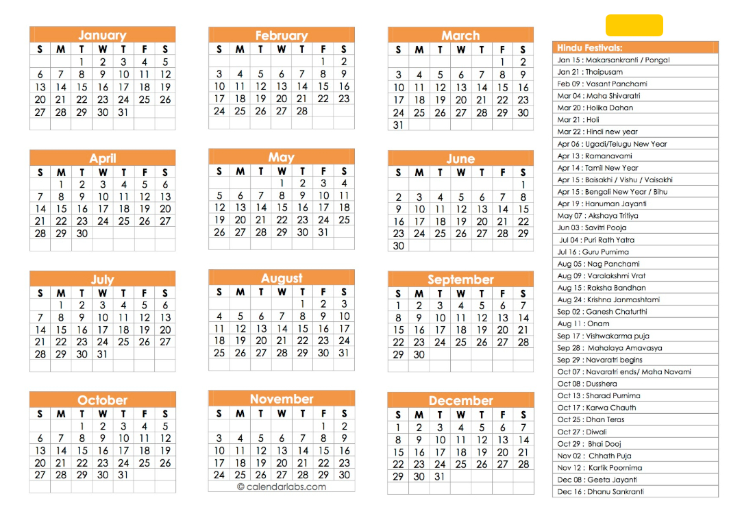 Hindu Calendar 2019   Festivals, Tyohar, Panchang, Tithi – Calendar Calendar 2019 Hindu