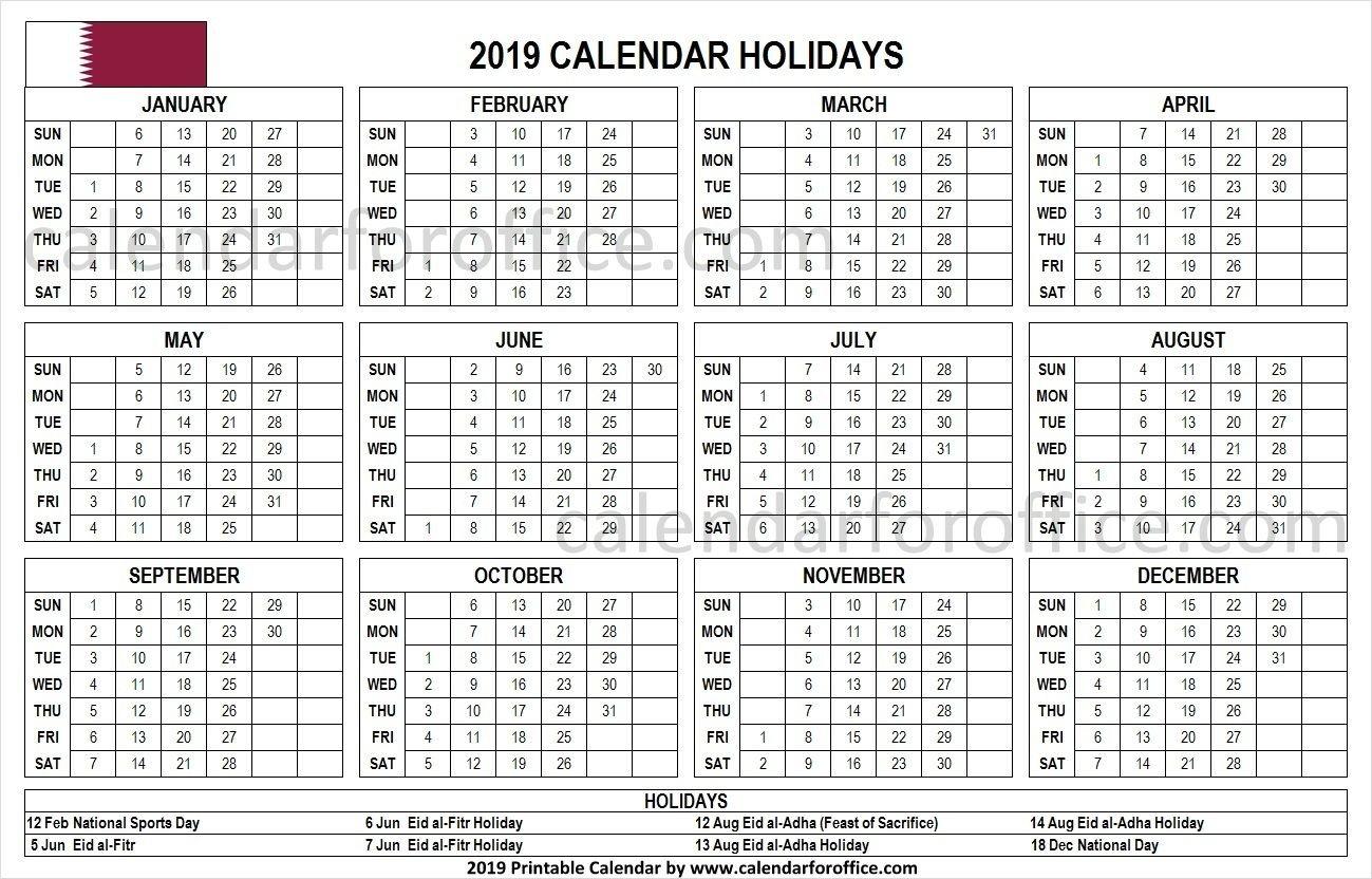 Holiday Calendar 2019 Qatar | Holiday Calendar 2019 | Printable Calendar 2019 Qatar