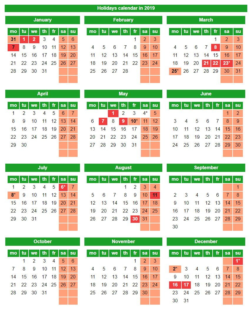 Holidays And Weekends In The Republic Of Kazakhstan In 2019 Calendar 2019 Government Holidays