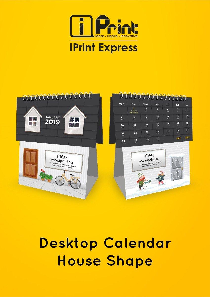 House Shape Desktop Calendar 2019 Calendar 2019 House