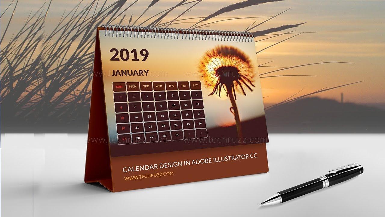 How To Create Or Design A Calendar In Illustrator Cc 2019 Desk Calendar 2019 Create