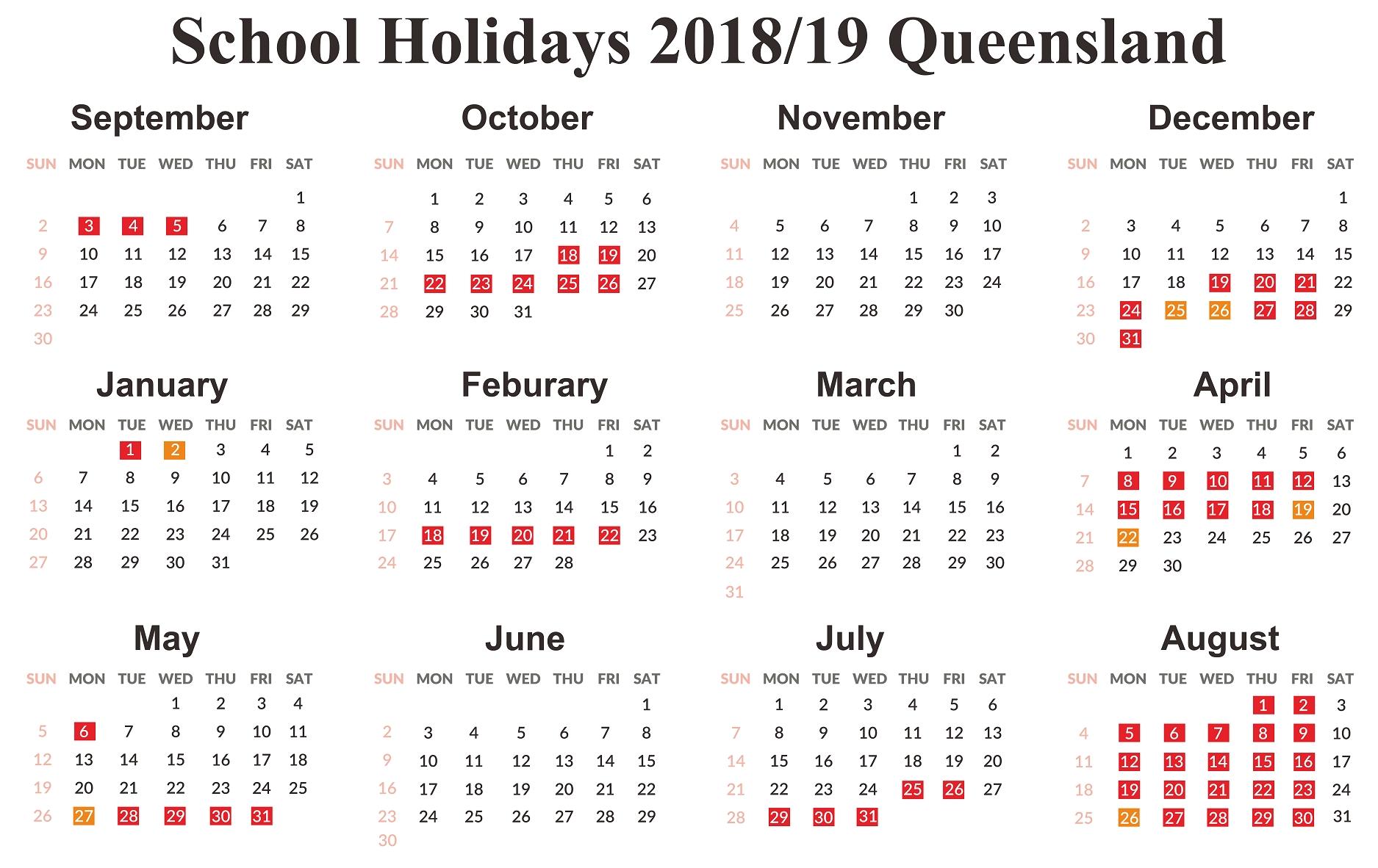 Incredible Calendar 2019 Qld School • Printable Blank Calendar Template Calendar 2019 Qld School Holidays