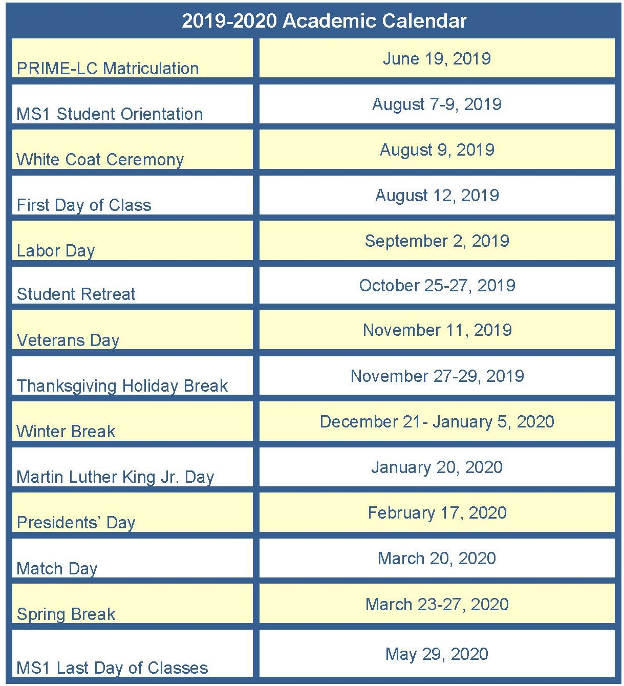 Information For Incoming Students   Medical Education   School Of Calendar 2019 Uci