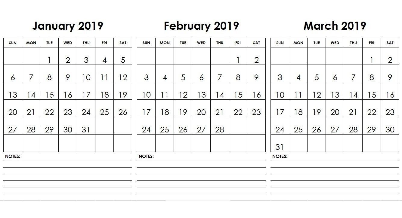 Jan Feb Mar 2019 Calendar With Notes | 2019 Calendars | Printable Calendar 2019 Jan Feb Mar