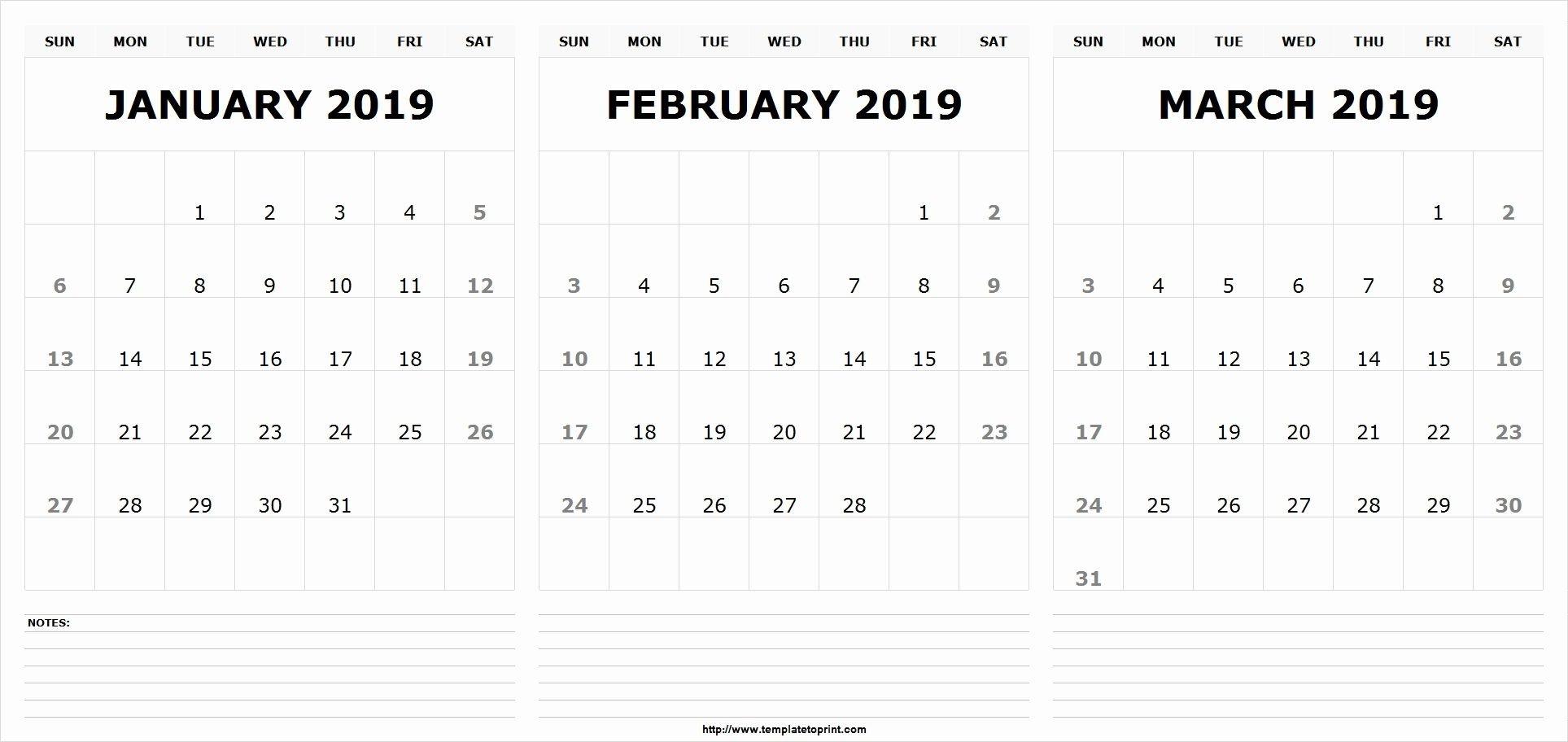 Jan Feb March 2019 Calendar Template | 555+ December January Calendar 2019 Jan Feb Mar