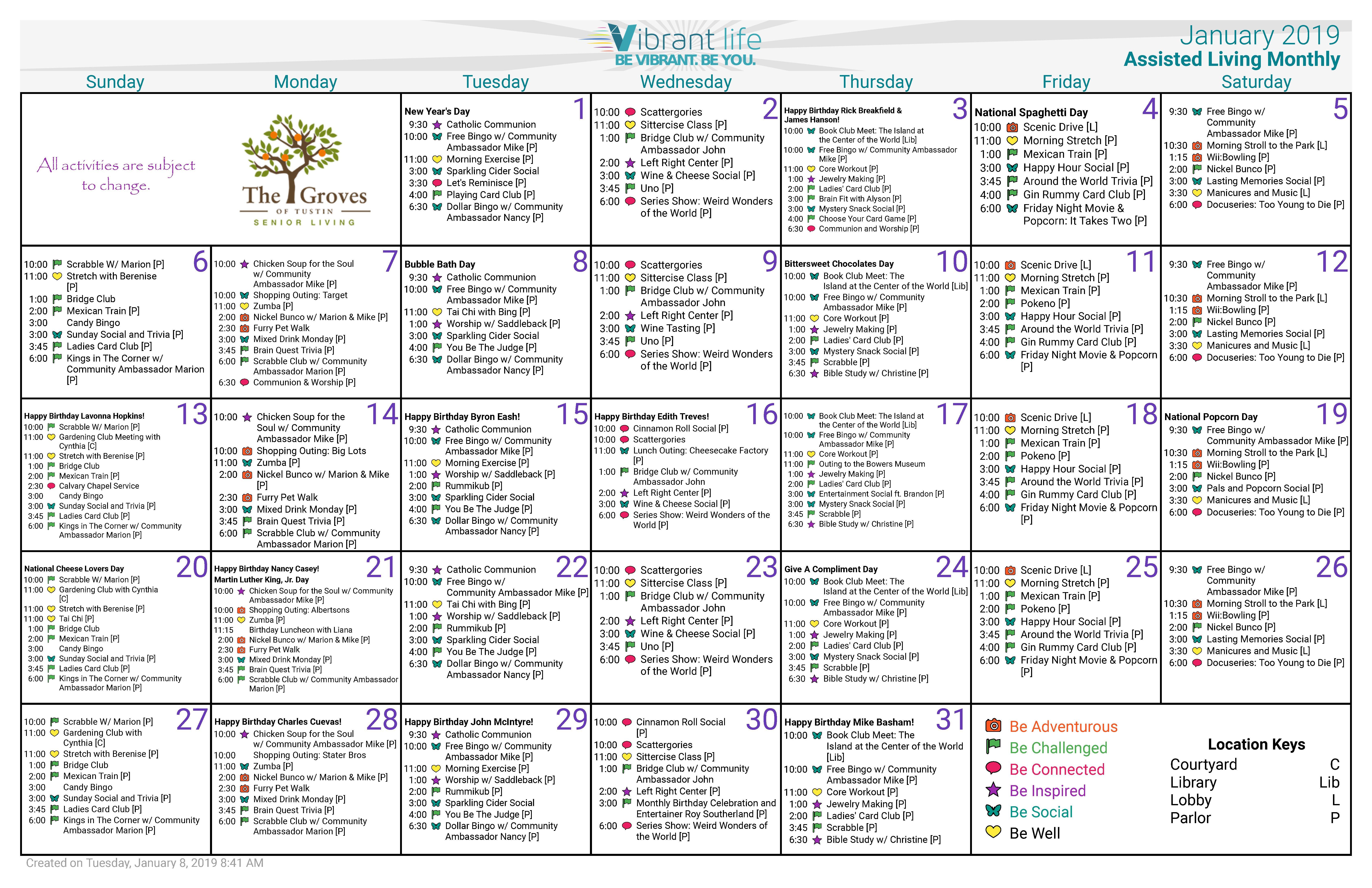 January 2019 Calendar Al – Groves Of Tustin Calendar 2019 At Target