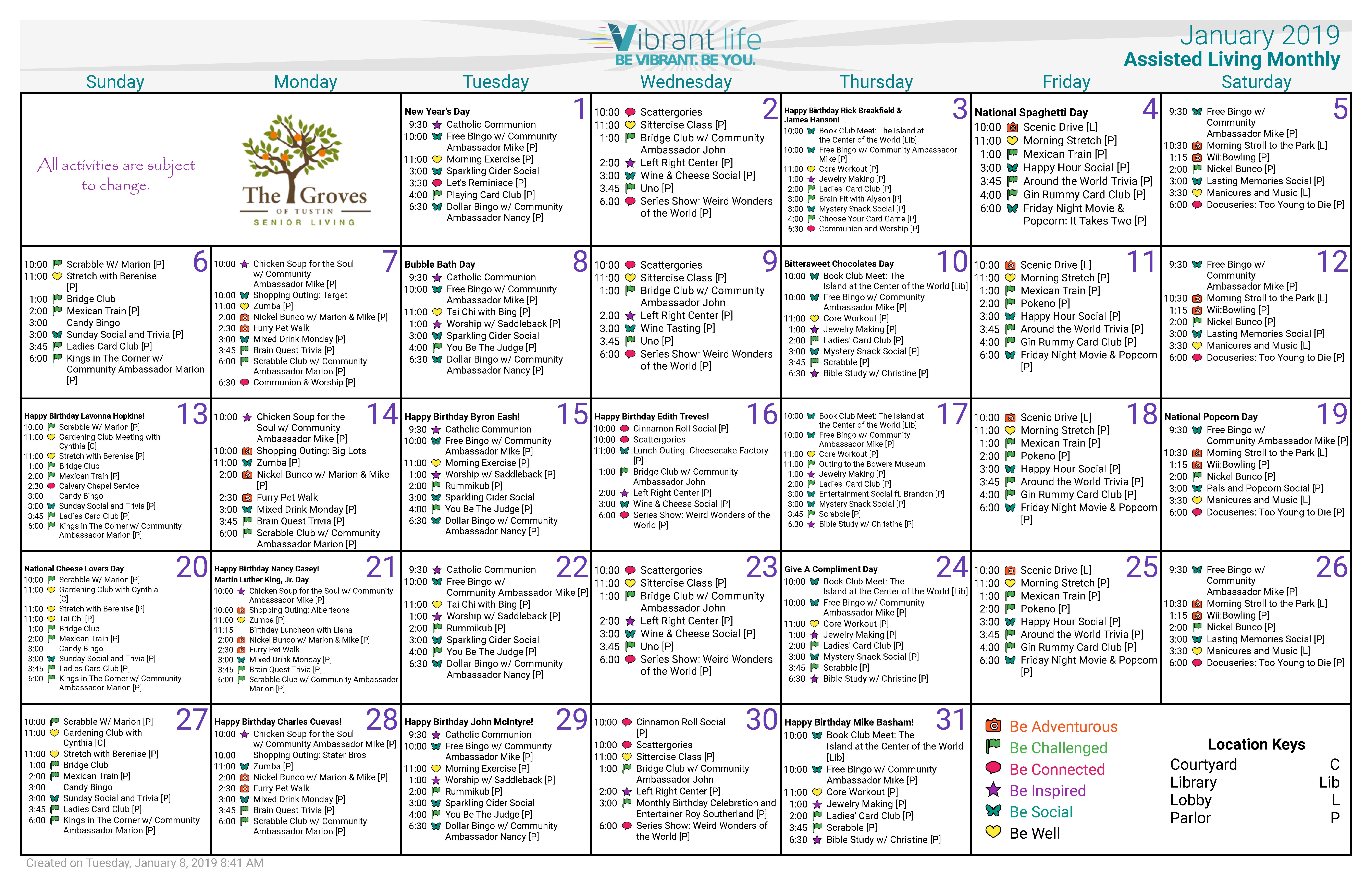 January 2019 Calendar Al – Groves Of Tustin Calendar 2019 Target