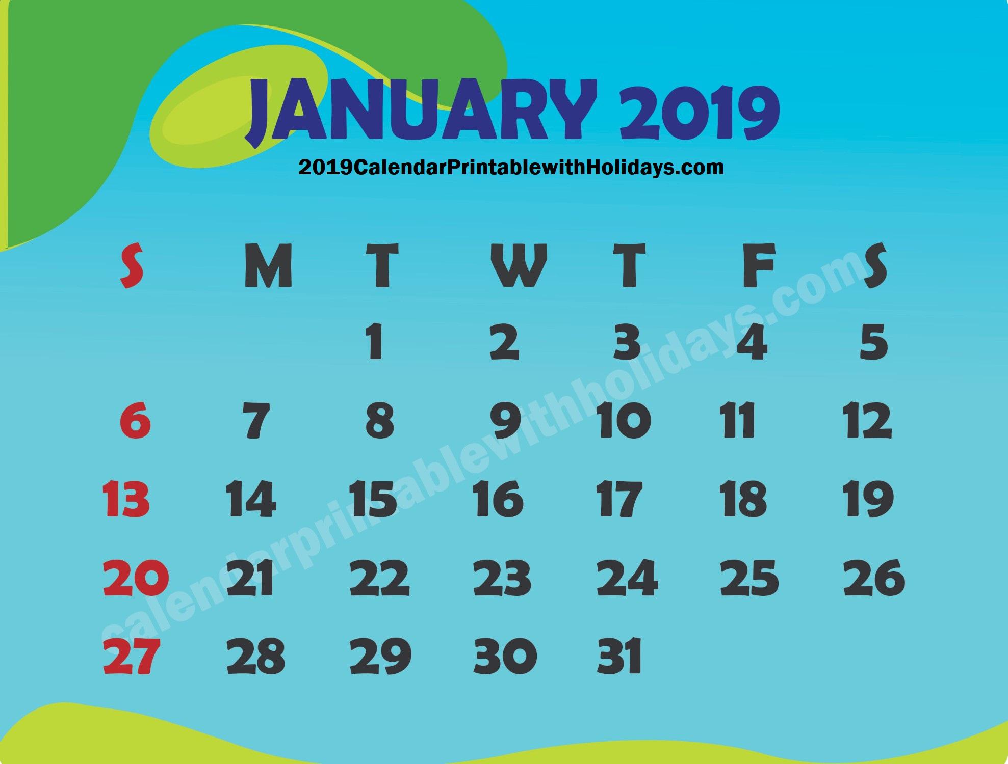 January 2019 Calendar – Calendar Printable Template Holidays 2019 6 Nations 2019 Calendar Download