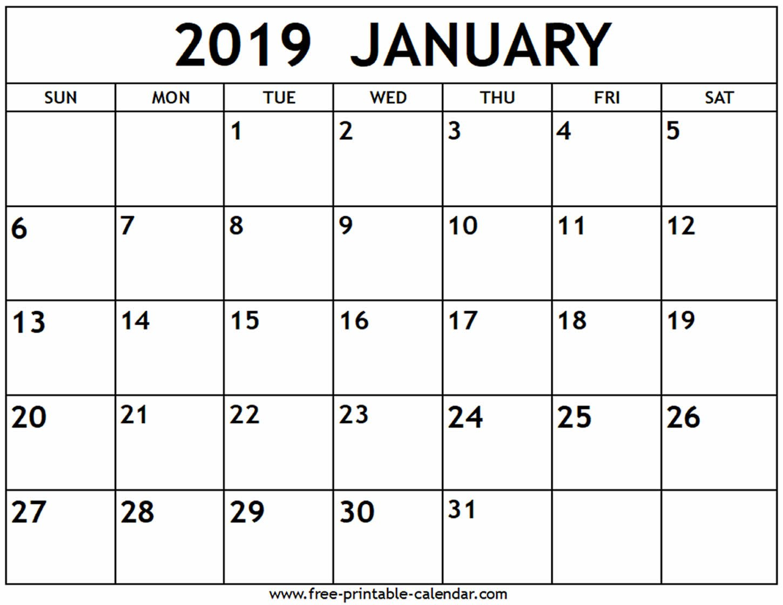 January 2019 Calendar – Free Printable Calendar Calendar 2019 January Printable