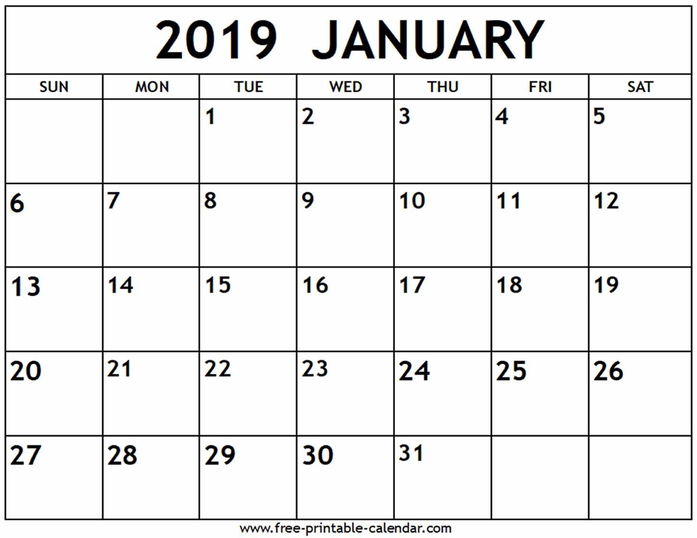 January 2019 Calendar – Free Printable Calendar Calendar Of 2019 January