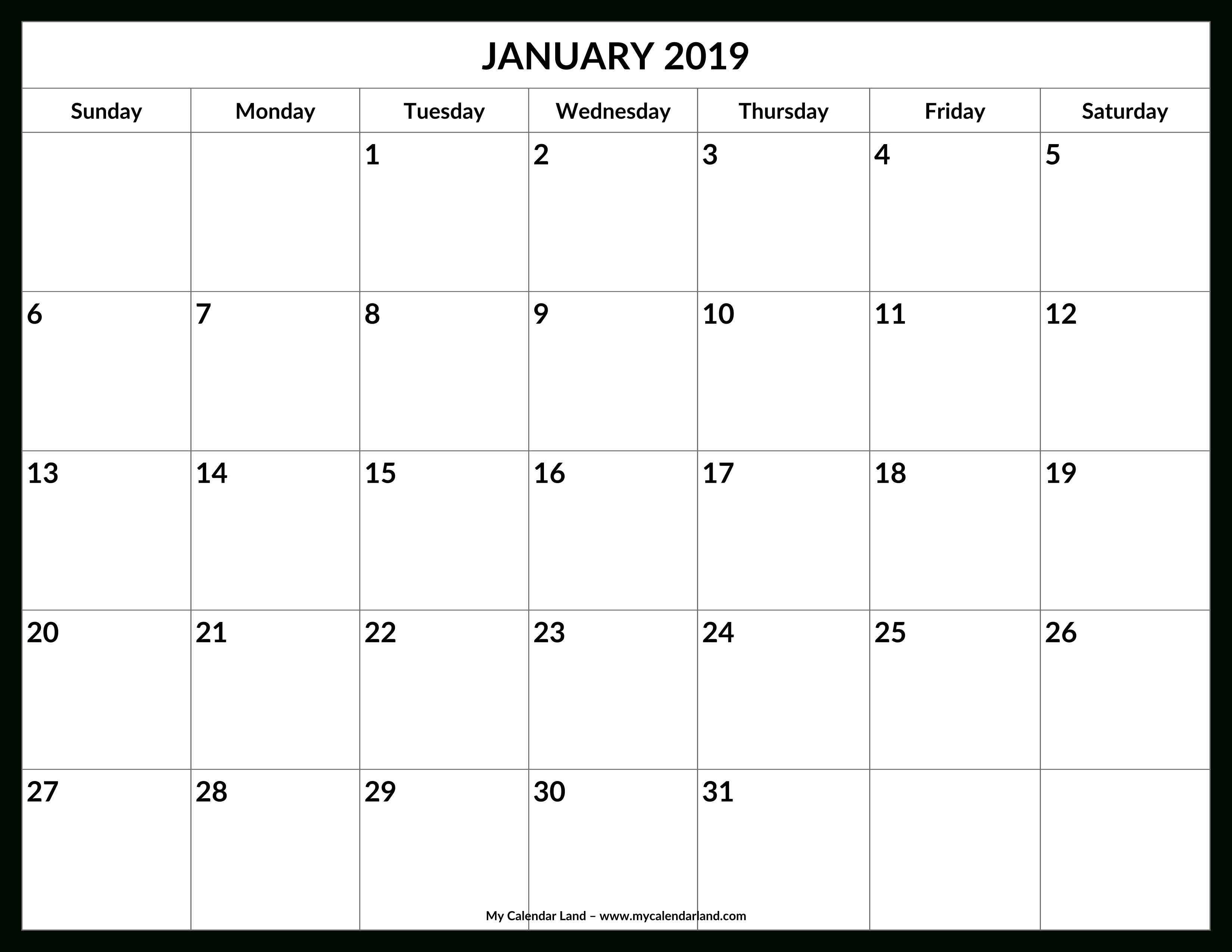 January 2019 Calendar – My Calendar Land Calendar 2019 Write In
