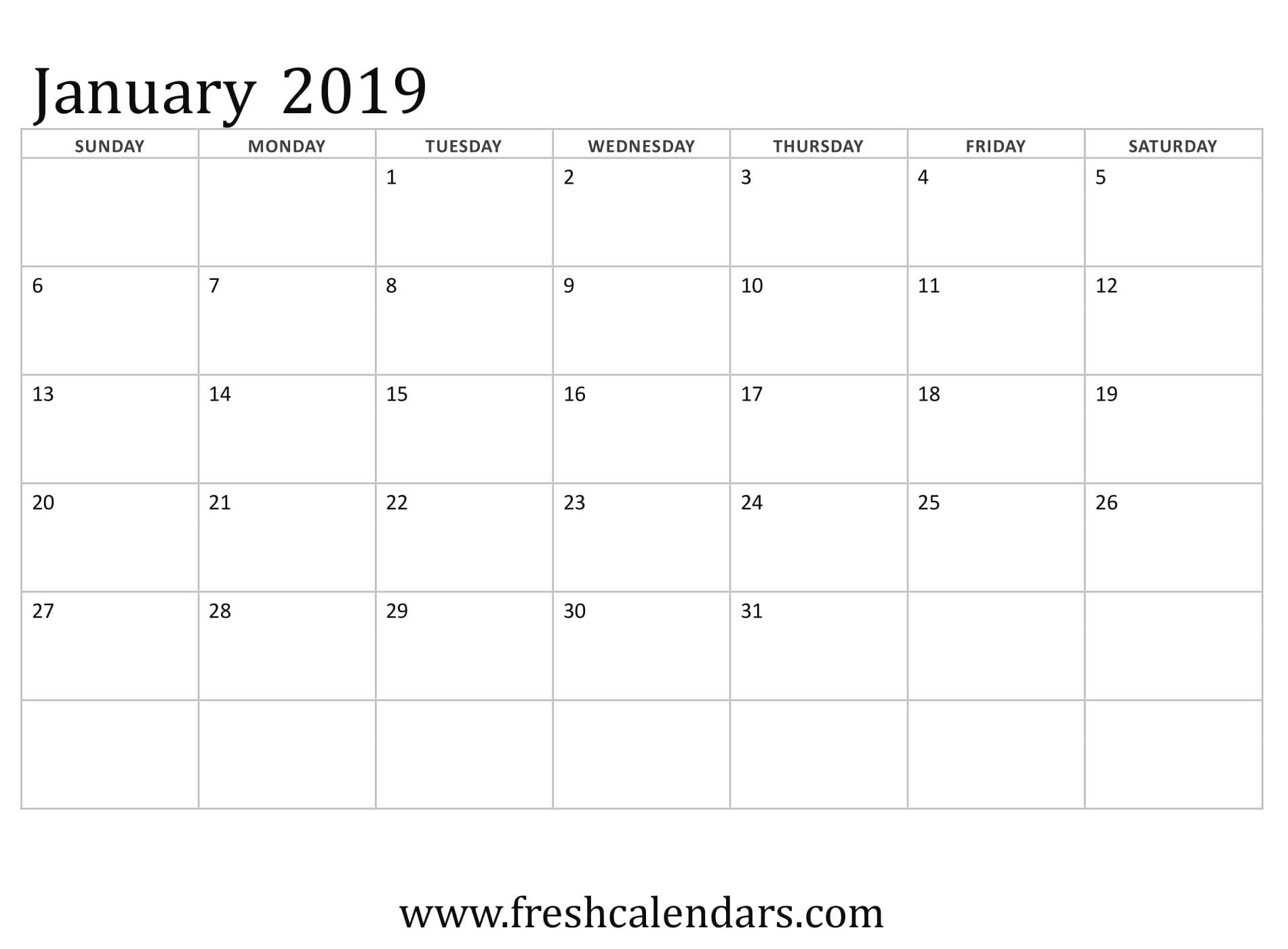 January 2019 Calendar Printable – Fresh Calendars Calendar 2019 January Template