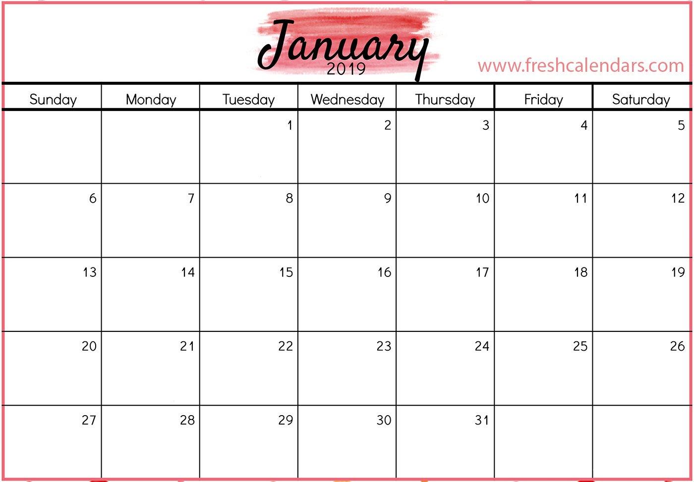 January 2019 Calendar Printable – Fresh Calendars Calendar 2019 Printable January