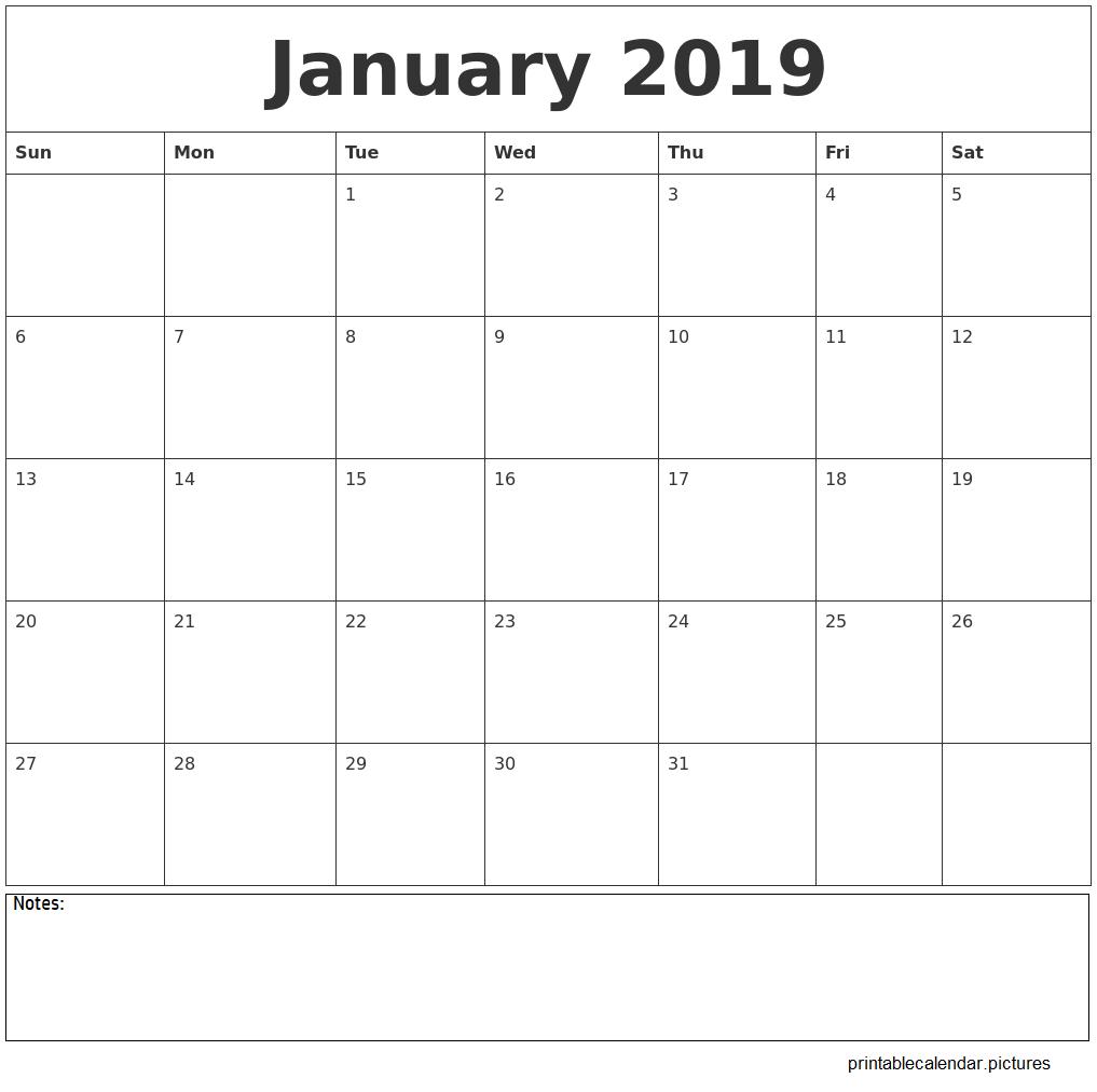 January 2019 Calendar Printable   January 2019 Calendar Printable Calendar 2019 Themes