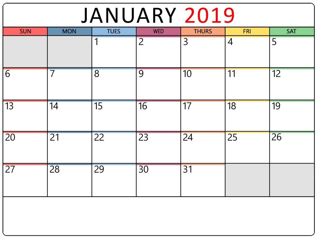 January 2019 Calendar Printable Templates – January Calendar – Medium Calendar 2019 Themes