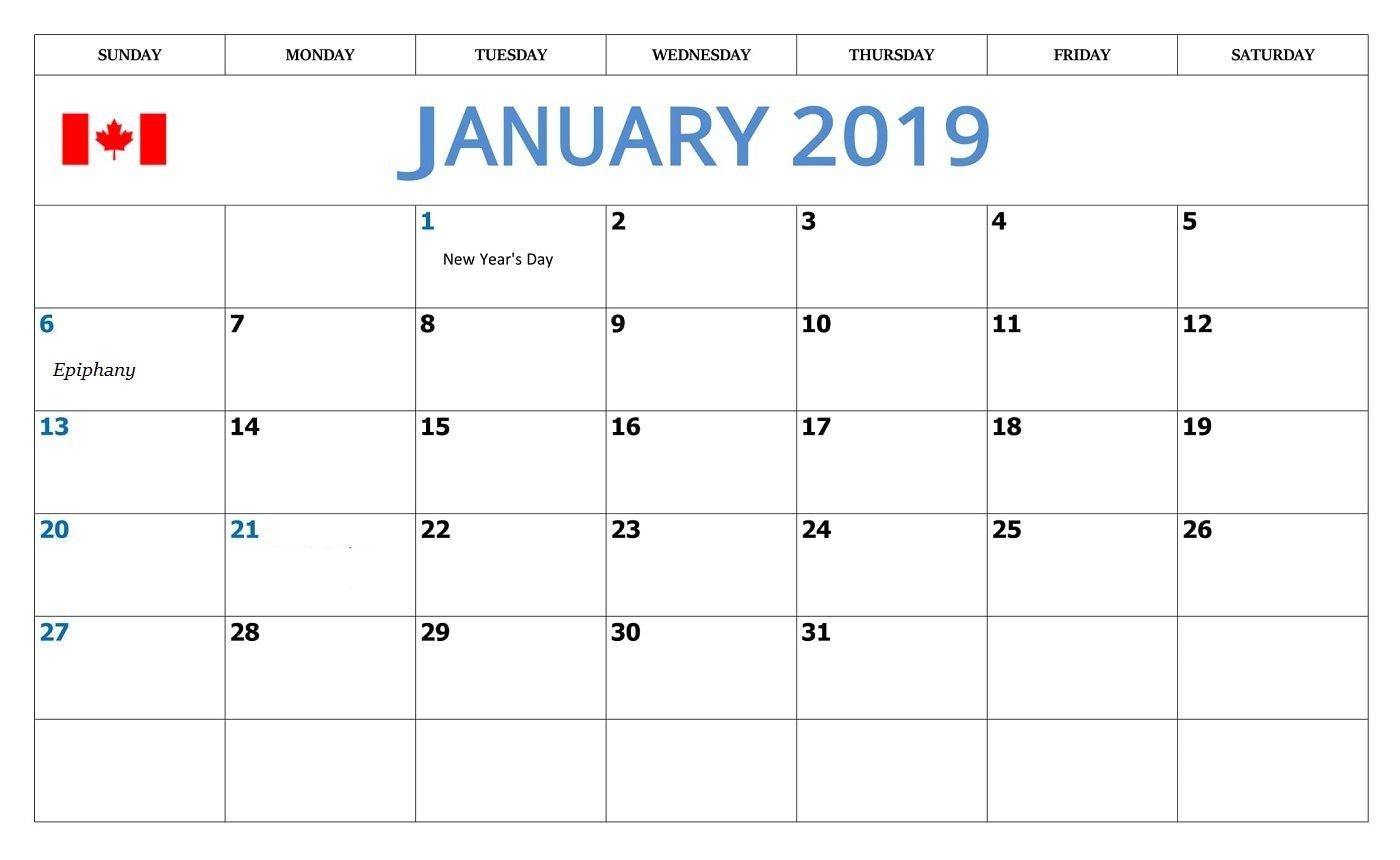 January 2019 Calendar With Holidays Canada – Free Printable Calendar Calendar 2019 Excel Canada