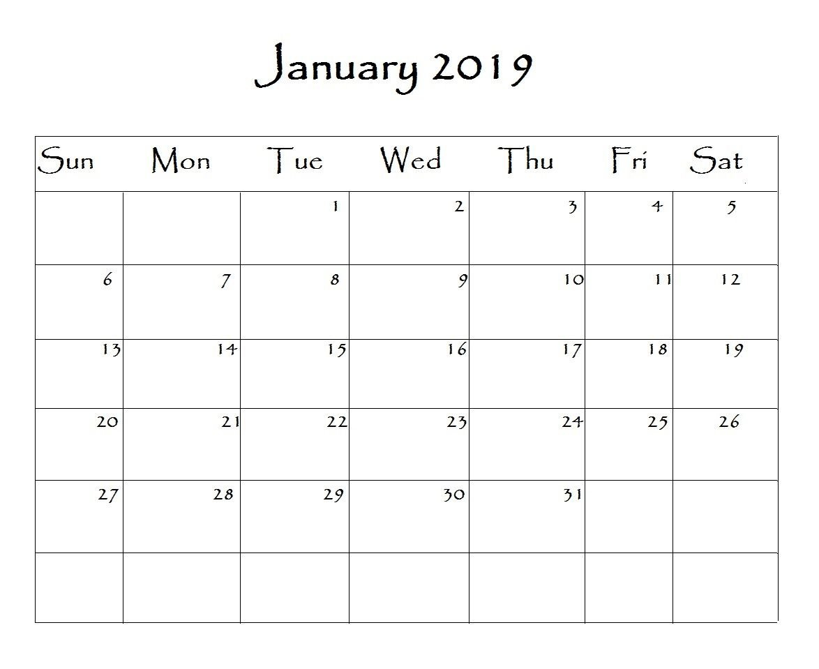 January 2019 Calendar Word   Monthly Calendar Templates   Free Calendar 2019 Template Word