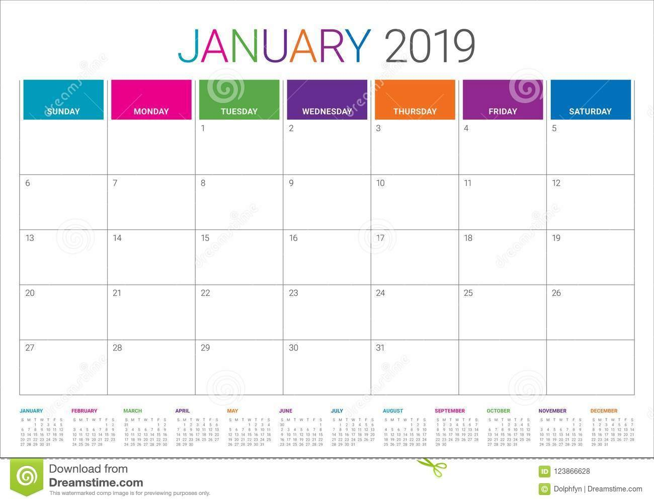 January 2019 Desk Calendar Vector Illustration Stock Vector Calendar 2019 Table