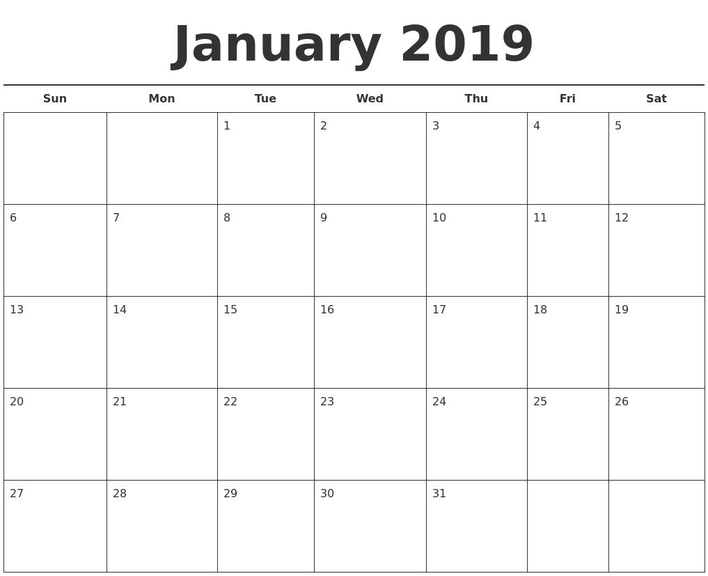 January 2019 Free Calendar Template Calendar 2019 Free Template