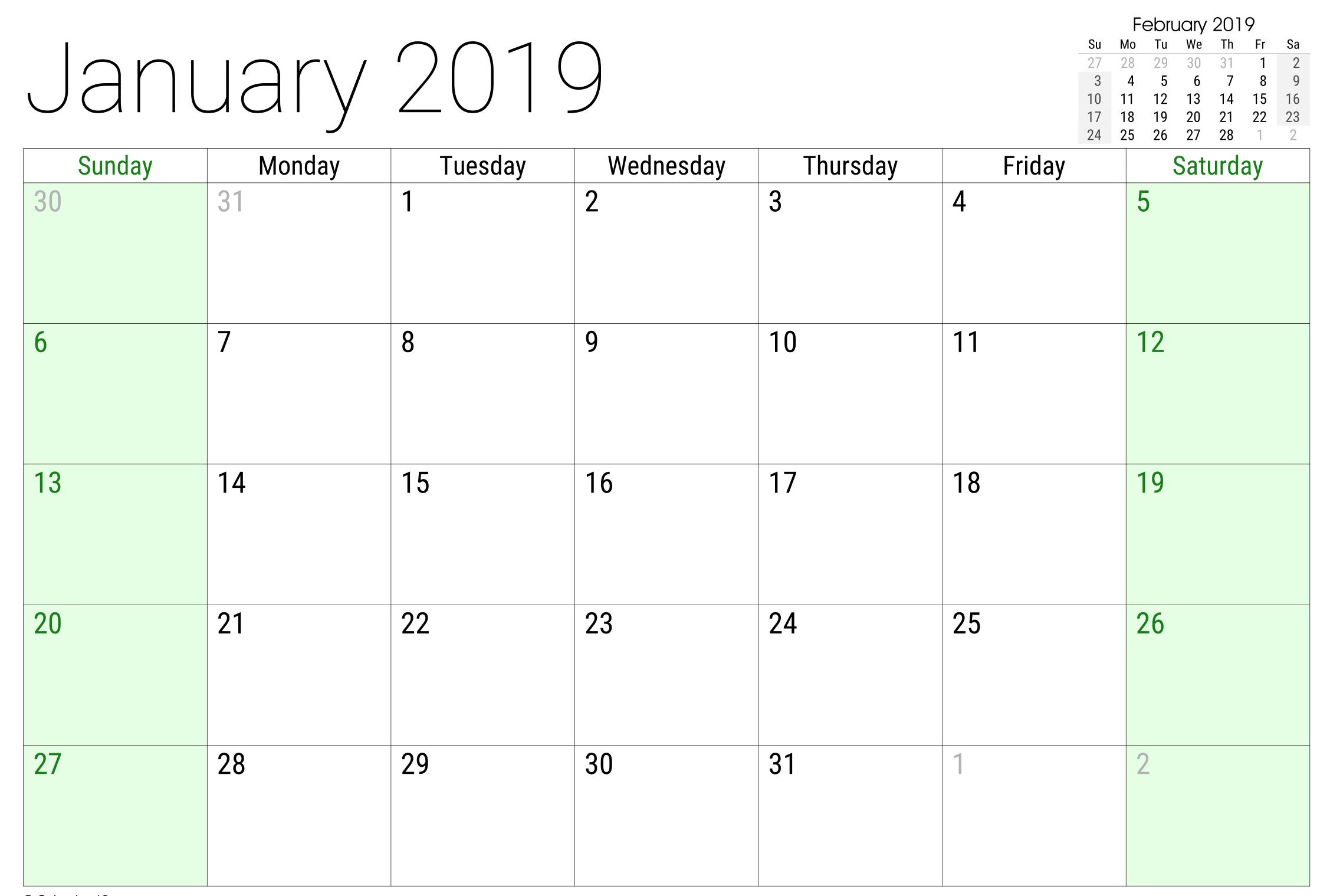 January 2019 Google Sheet Calendar | 2019 Calendars | 2019 Calendar Calendar 2019 Google Sheets