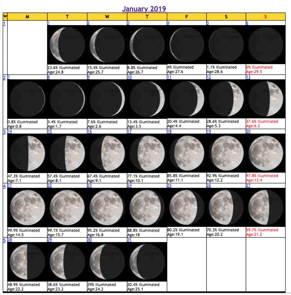 January 2019 Lunar Calendar | Urbanmystics Astrology | Moon Phase D&d Calendar 2019