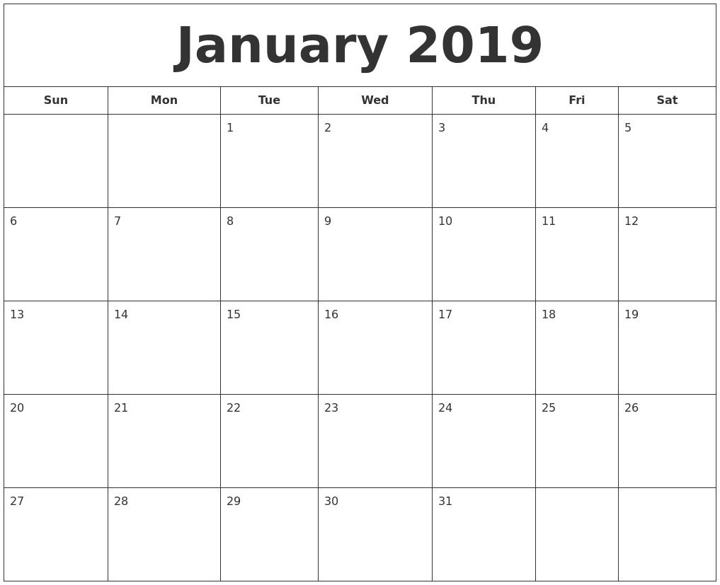 January 2019 Printable Calendar Calendar 2019 Printable January