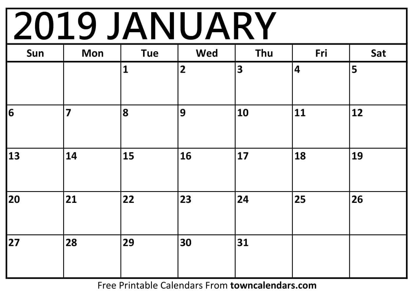January 2019 Printable Calendar Pdf Free Monthly Template Calendar 2019 Printable January