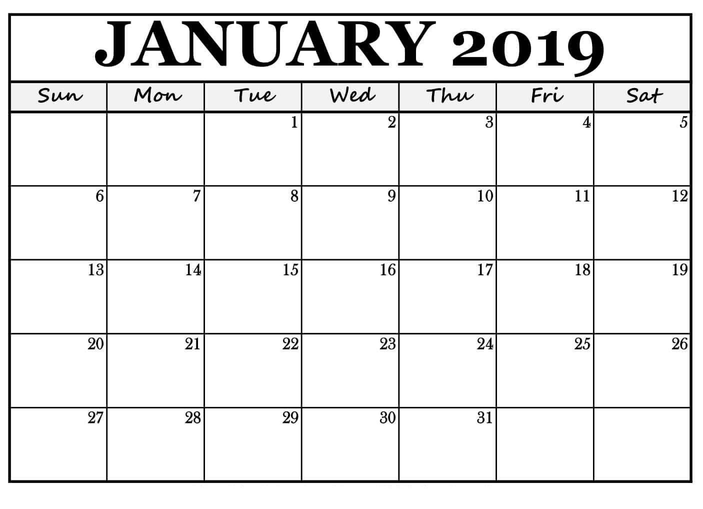 January 2019 Printable Calendar Word | Free Printable January 2019 Calendar 2019 Printable January