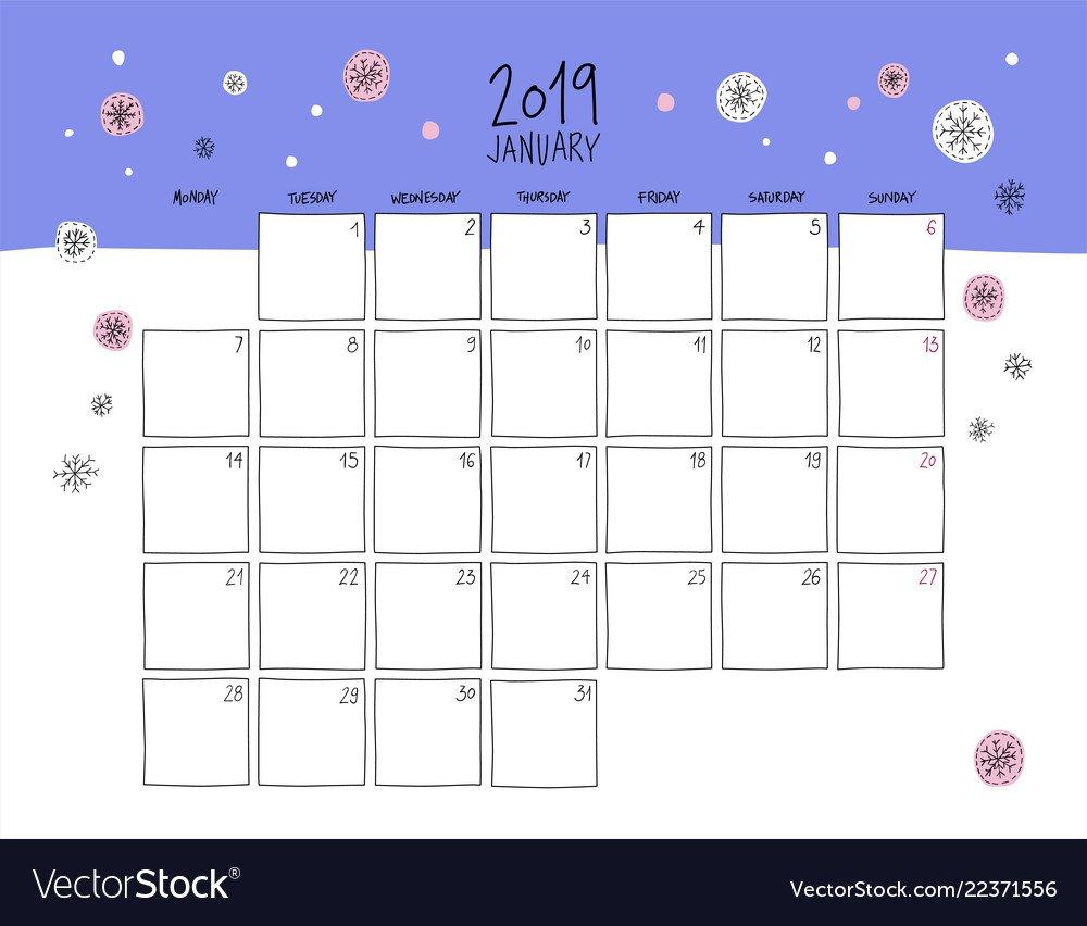 January 2019 Wall Calendar Doodle Style Royalty Free Vector Calendar 2019 Wall