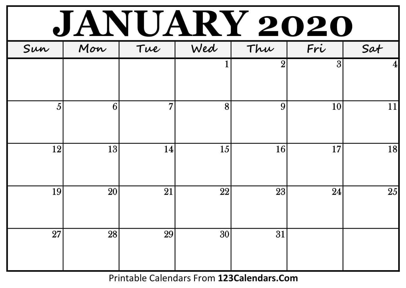 January 2020 Printable Calendar | 123Calendars Calendar Of 2019 January