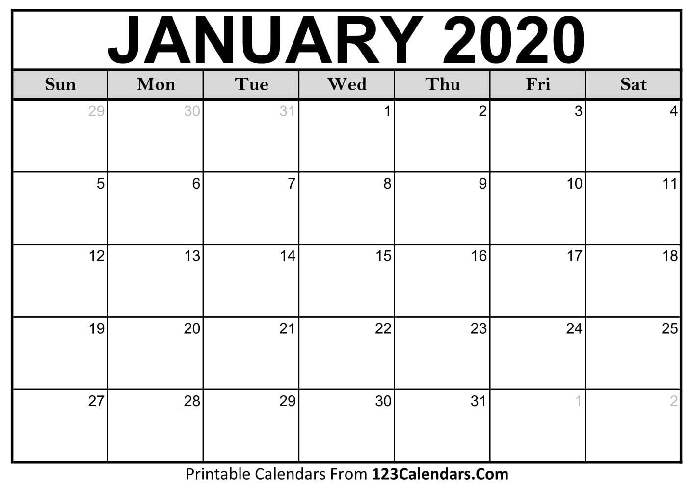 January 2020 Printable Calendar | 123Calendars January 2019 Calendar 123Calendars