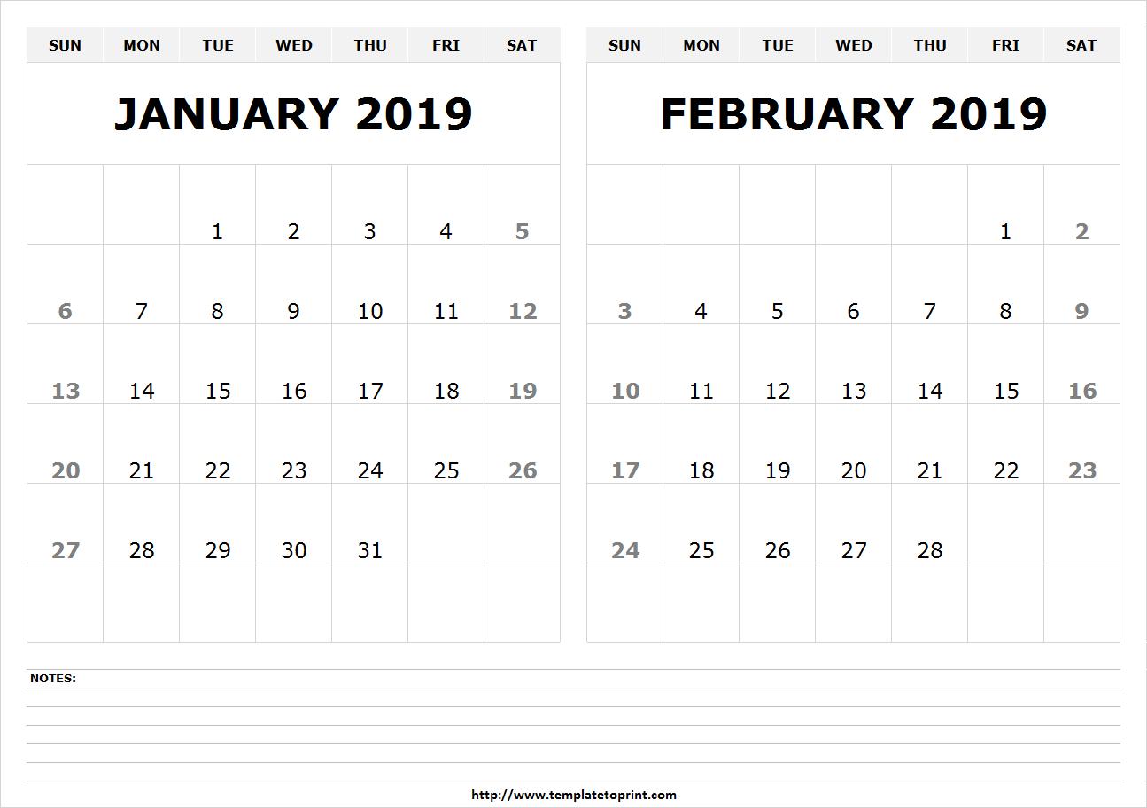 January & February 2019 Calendar | 250+ Free Monthly Calendar Calendar 2019 January And February