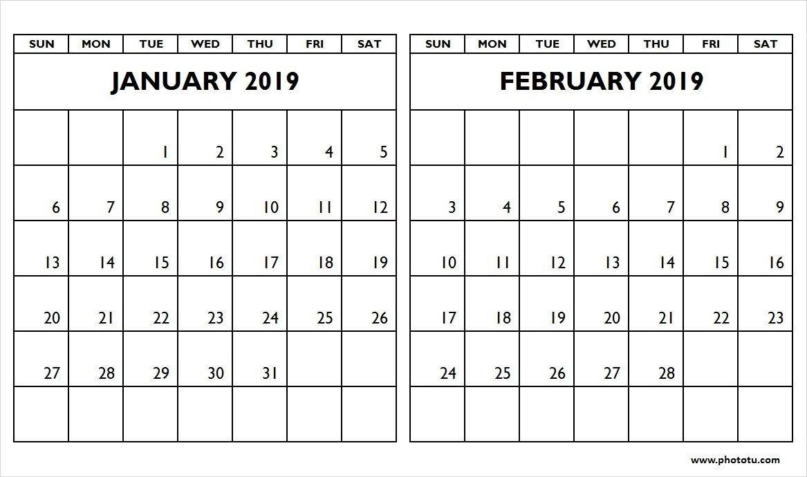 January February 2019 Two Month Calendar – Phototu In January And Calendar 2019 January And February