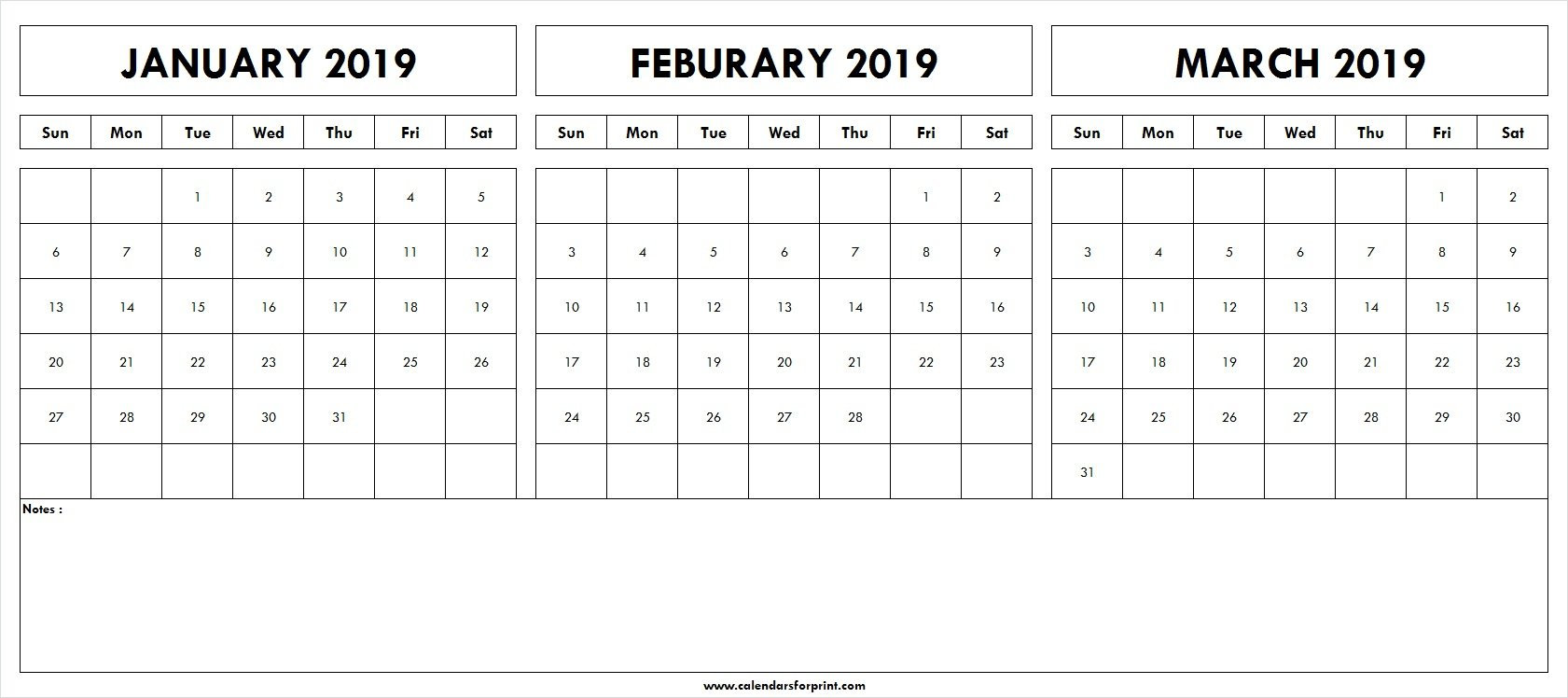 January February March 2019 Calendar Template Printable | Blank Calendar 2019 January February March