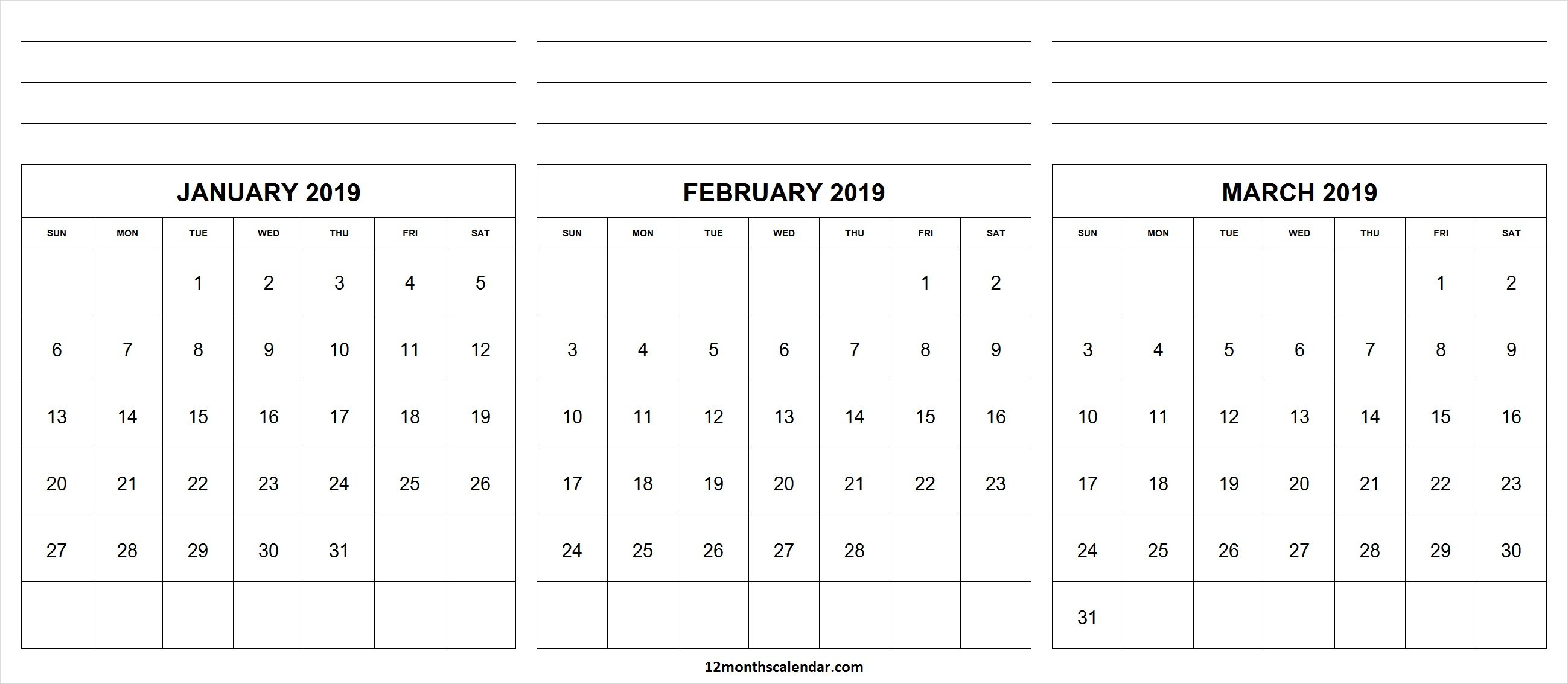 January February March 2019 Calendar With Notes | 12 Month Calendar Calendar 2019 January February March